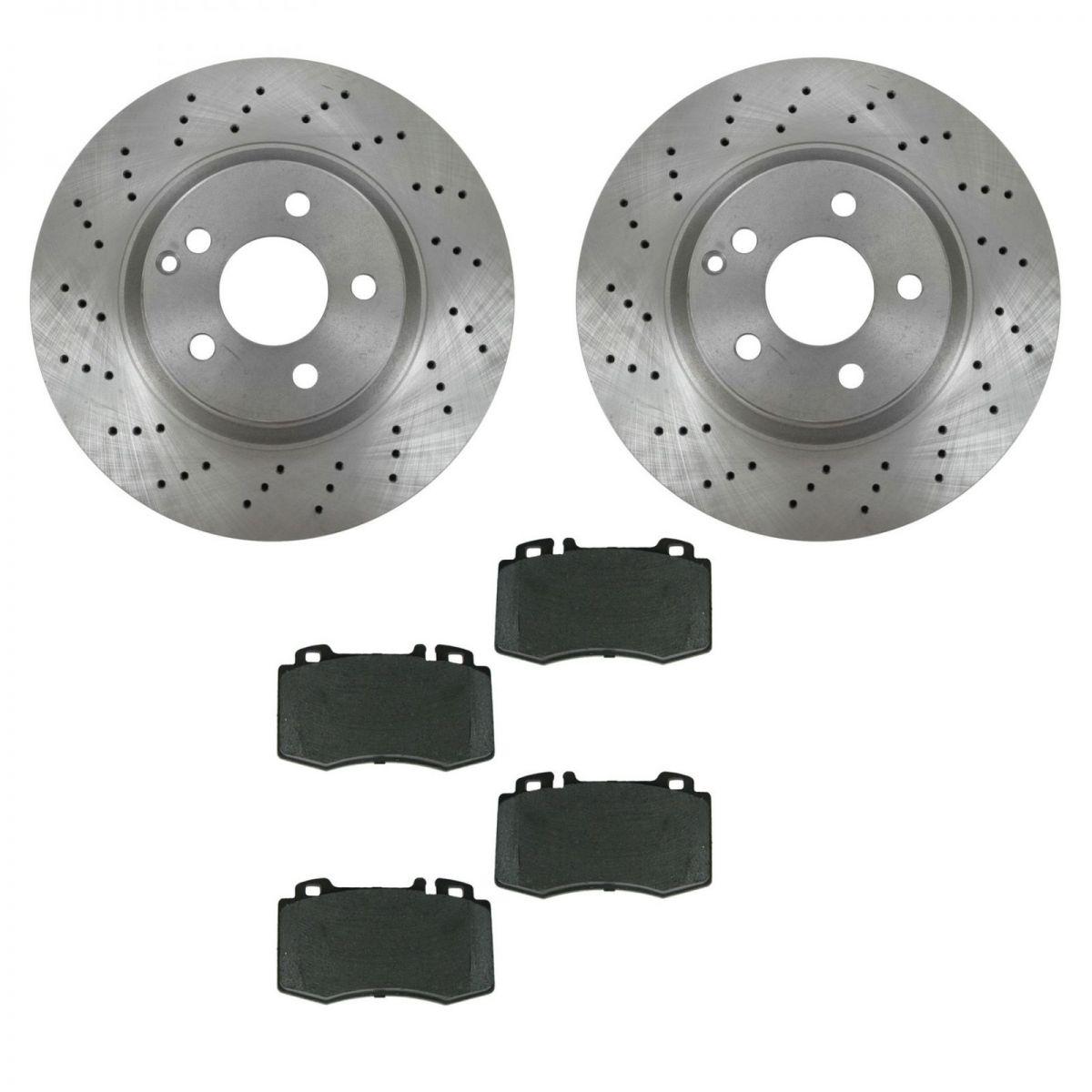 Brake pad rotor kit metallic front for 02 05 mercedes benz for Mercedes benz rotors and pads