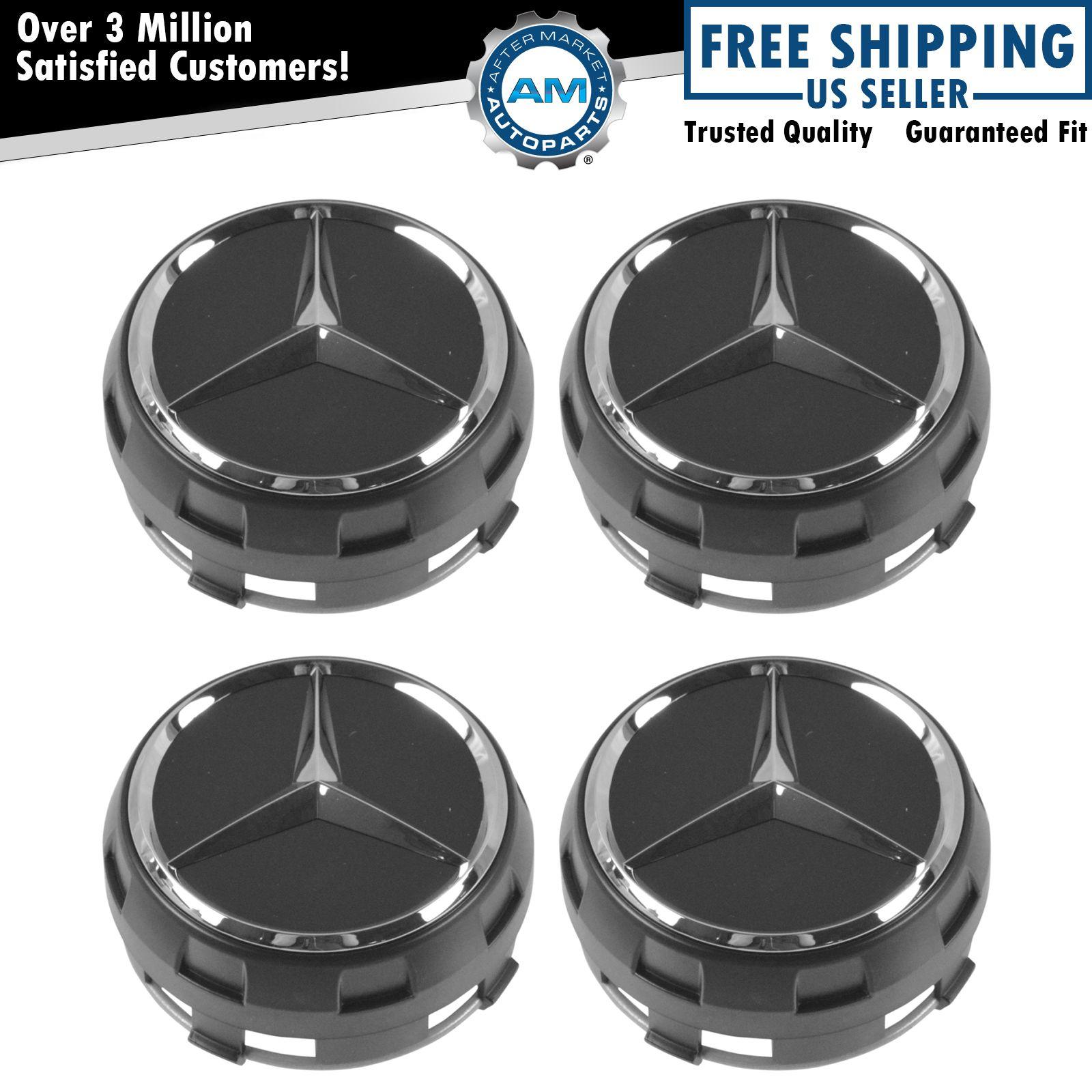 Oem raised chrome black wheel center cap set of 4 for for Mercedes benz hub caps