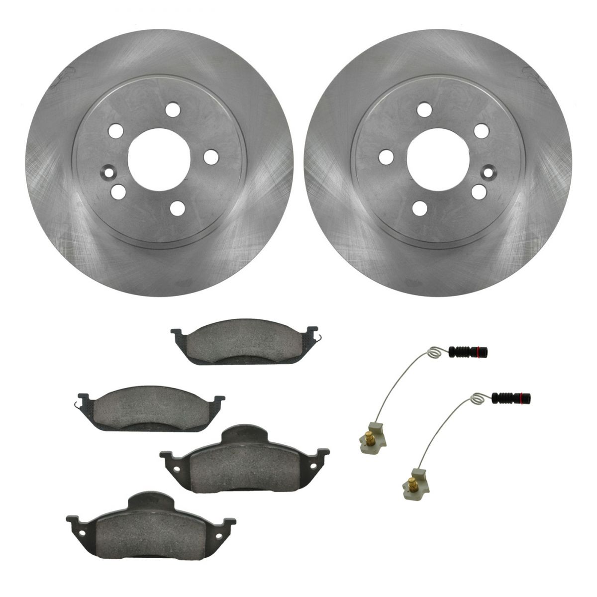 Brake rotor and ceramic pad set kit pair front for for Brake pads mercedes benz