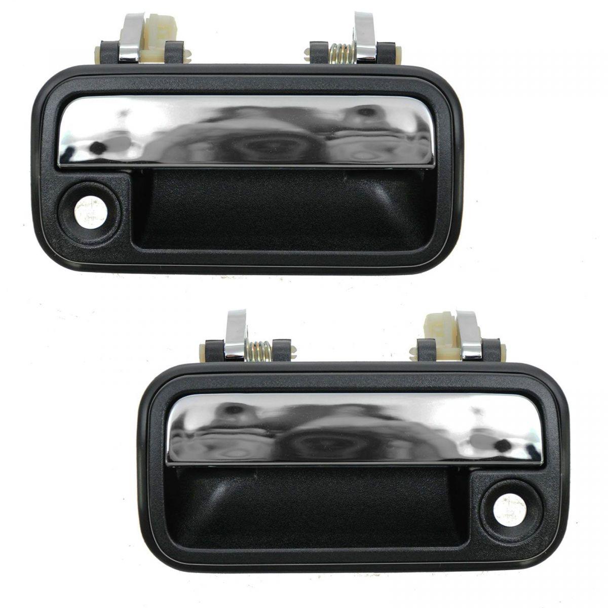 Black Chrome Exterior Front Outside Door Handle Pair Set