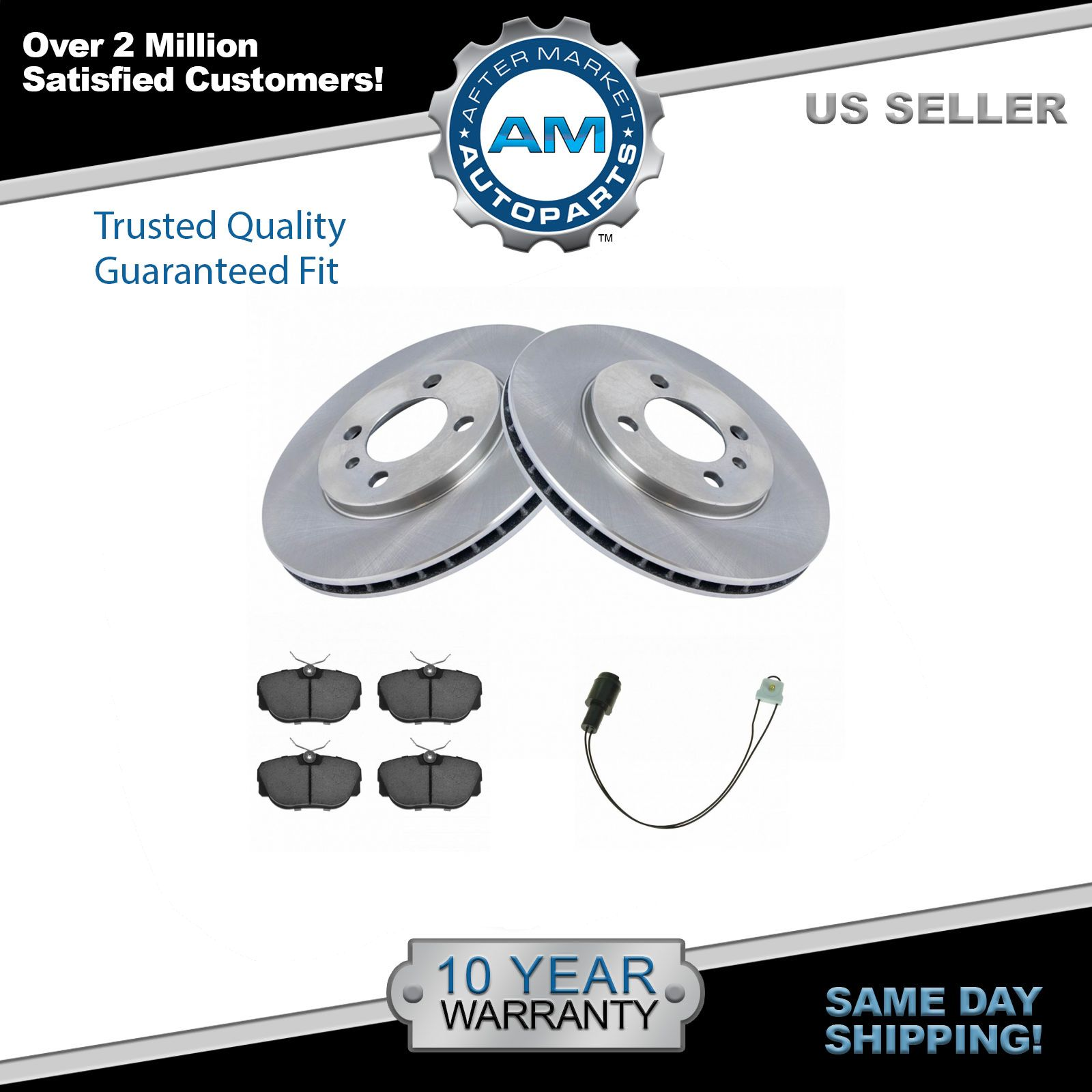 Front Disc Ceramic Brake Pads & Rotors W/ Sensors Kit Set