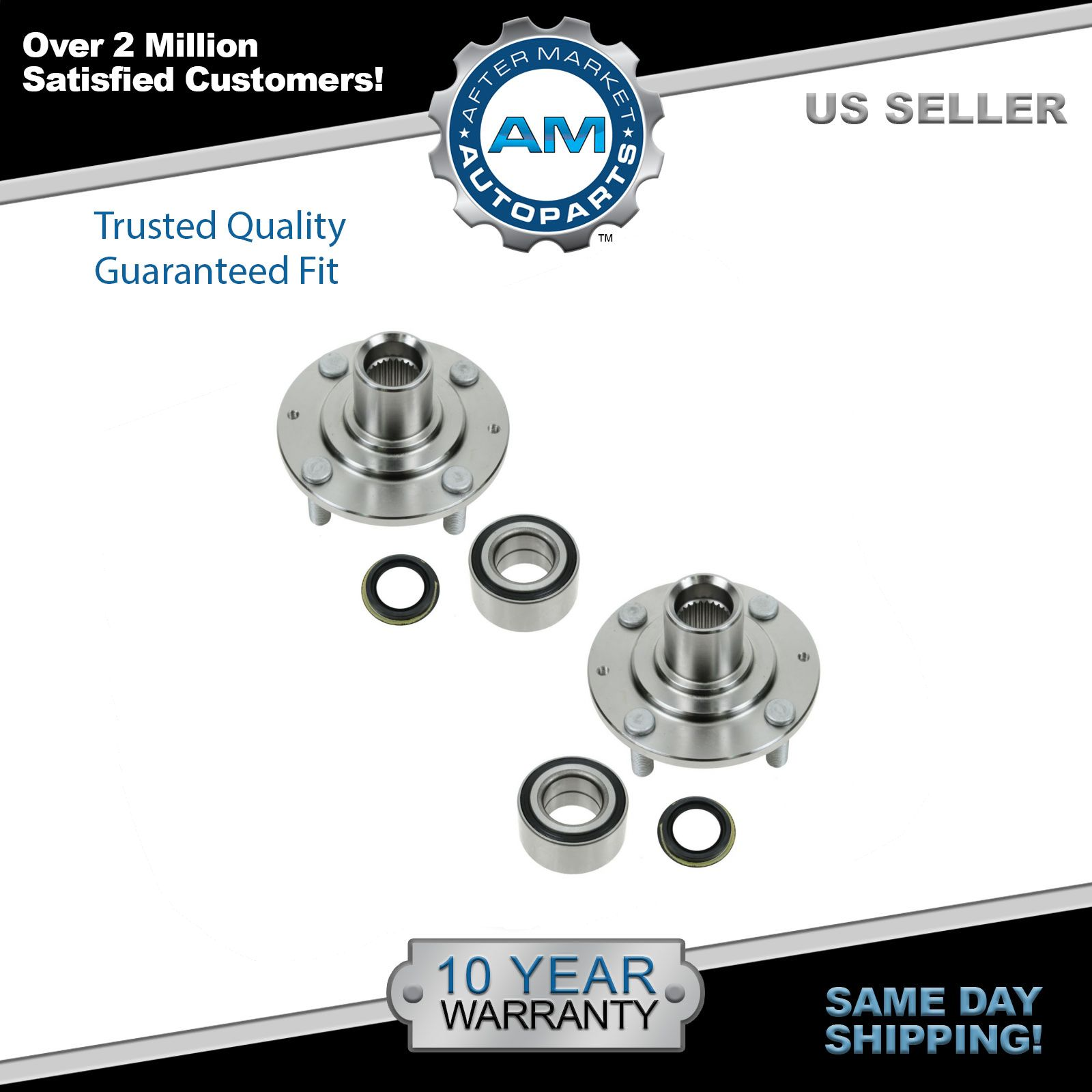 Pair of 2 FRONT Wheel Hub /& Bearing Assembly Set for Left /& Right Side