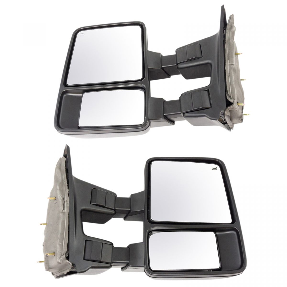 Tow Mirror Power Textured Black Pair Set of 2 for Ford Super Duty Pickup New