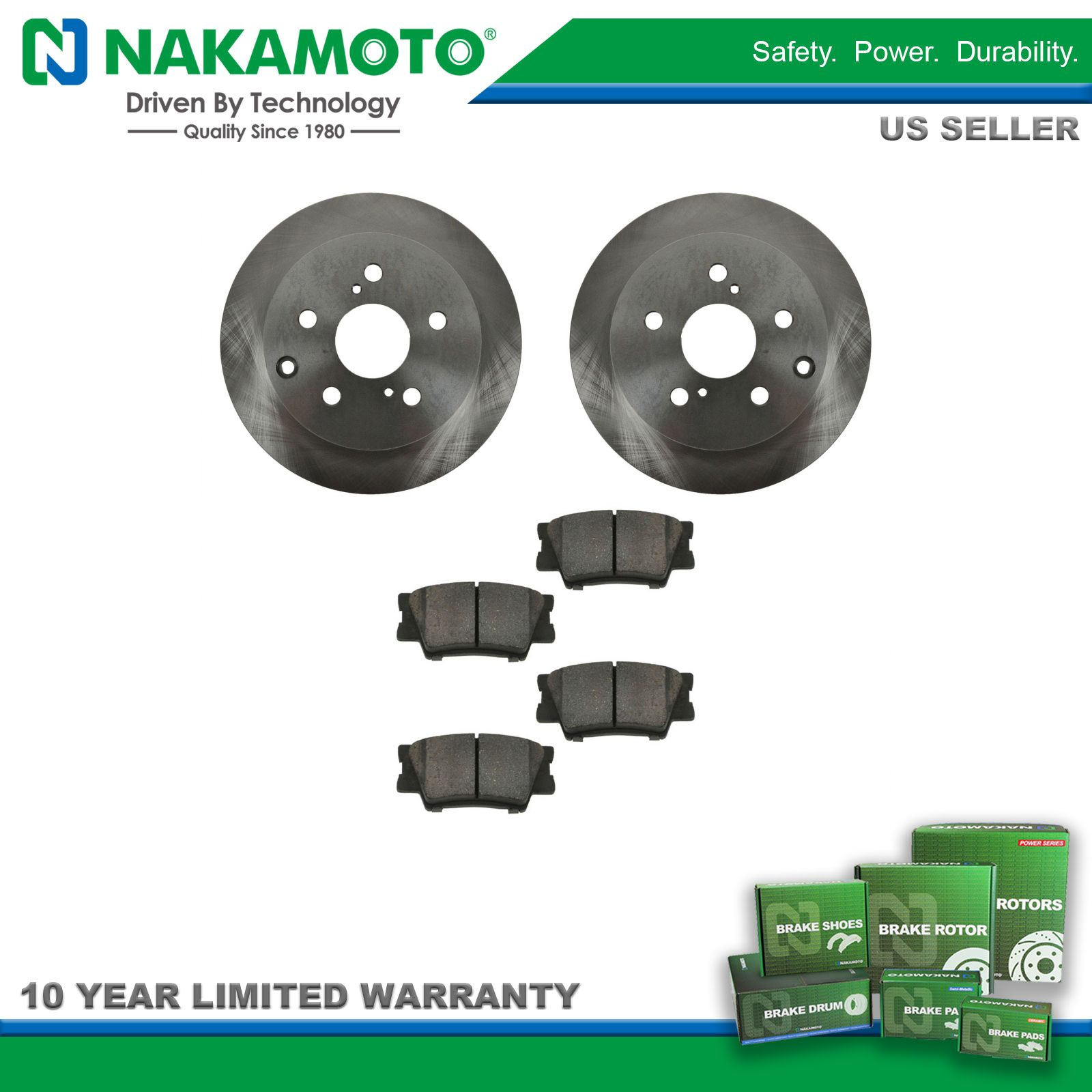 Nakamoto Front /& Rear Premium Posi Ceramic Disc Brake Pad /& Rotor Kit for Toyota