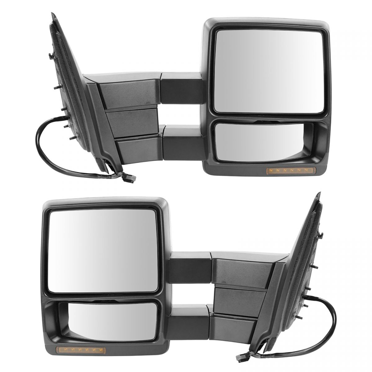 Tow Mirror Power Heat Signal Memory Puddle Black Pair For
