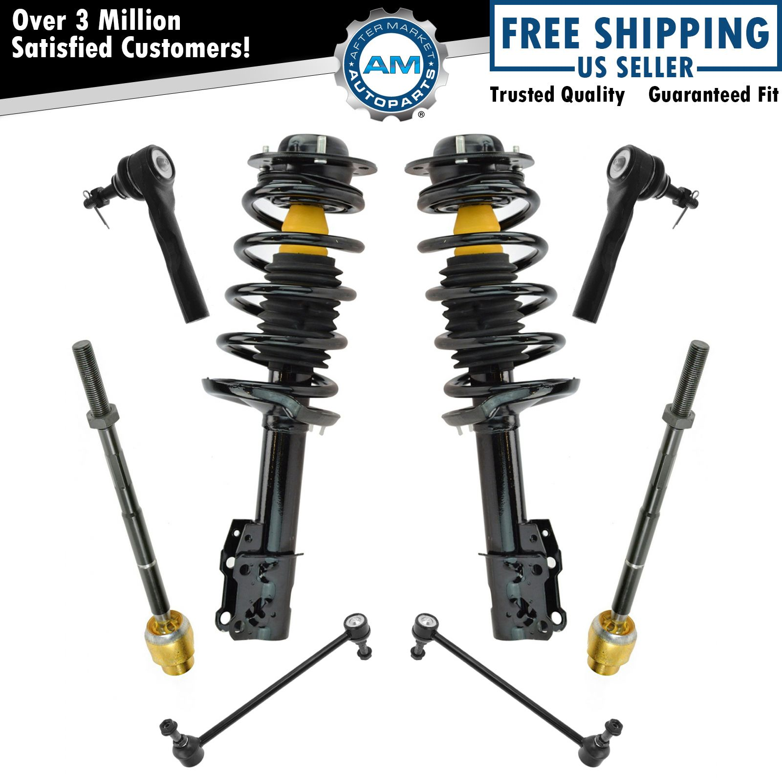 Spring Strut Assembly,OCPTY Complete Struts Shocks Control Arm and Ball Joint Assembly Stabilizer Bar Link Tie Rod End Fits for 2007-2012 Versa 343465 172352 FL 172351 FR Replace Strut
