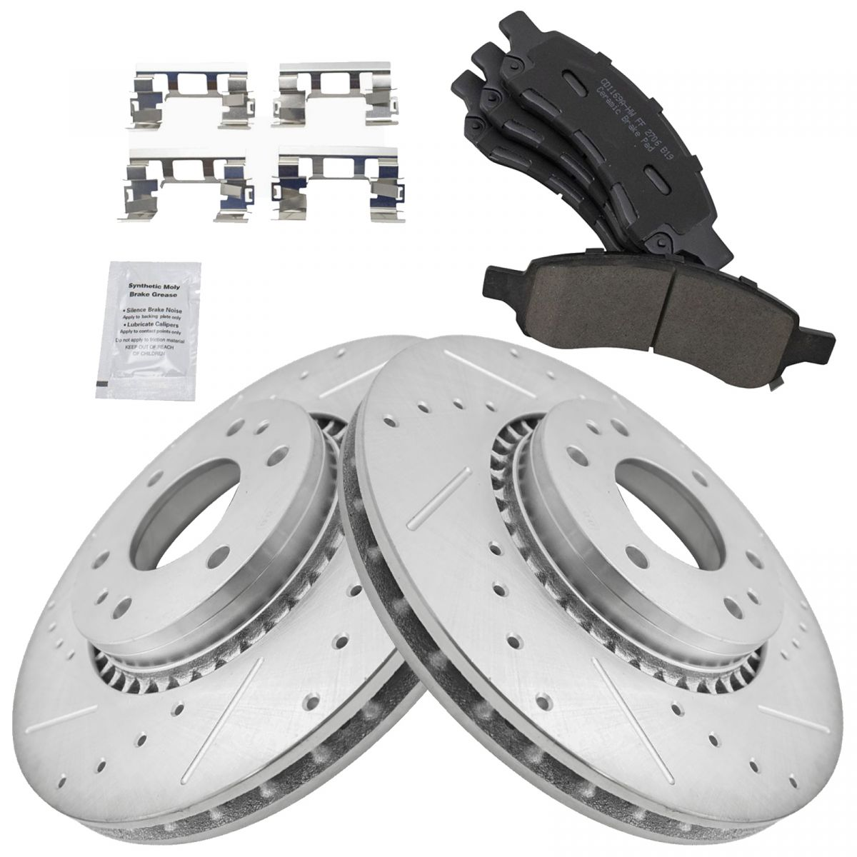 Ceramic Pads C1304 Black Hart *DRILLED /& SLOTTED* Brake Rotors FRONT+REAR KIT