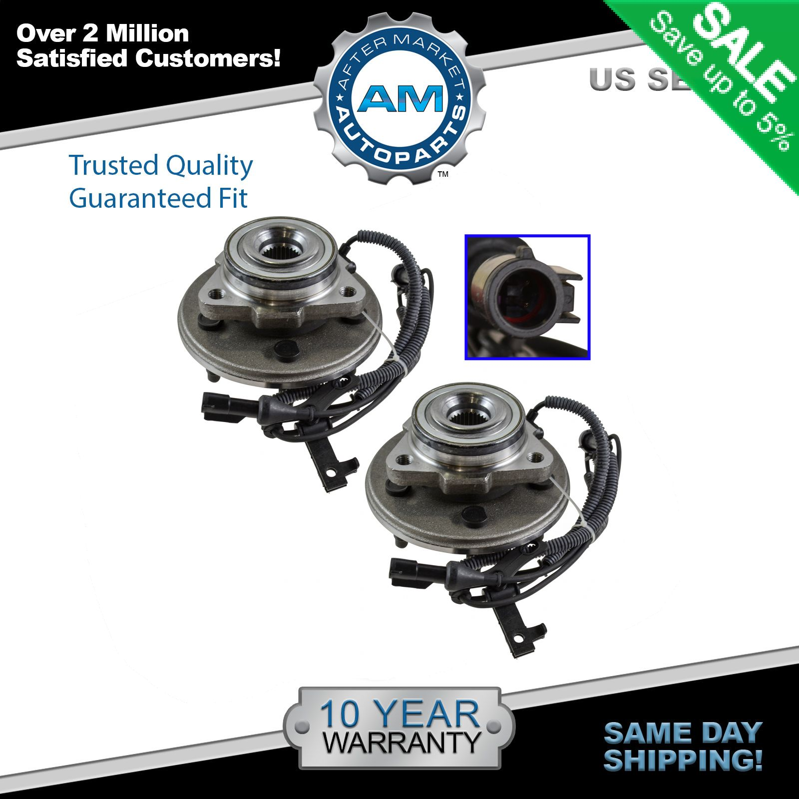 Front Wheel Bearing And Hub Assembly Pair For Ford Explorer Mercury Mountaineer Lincoln Aviator