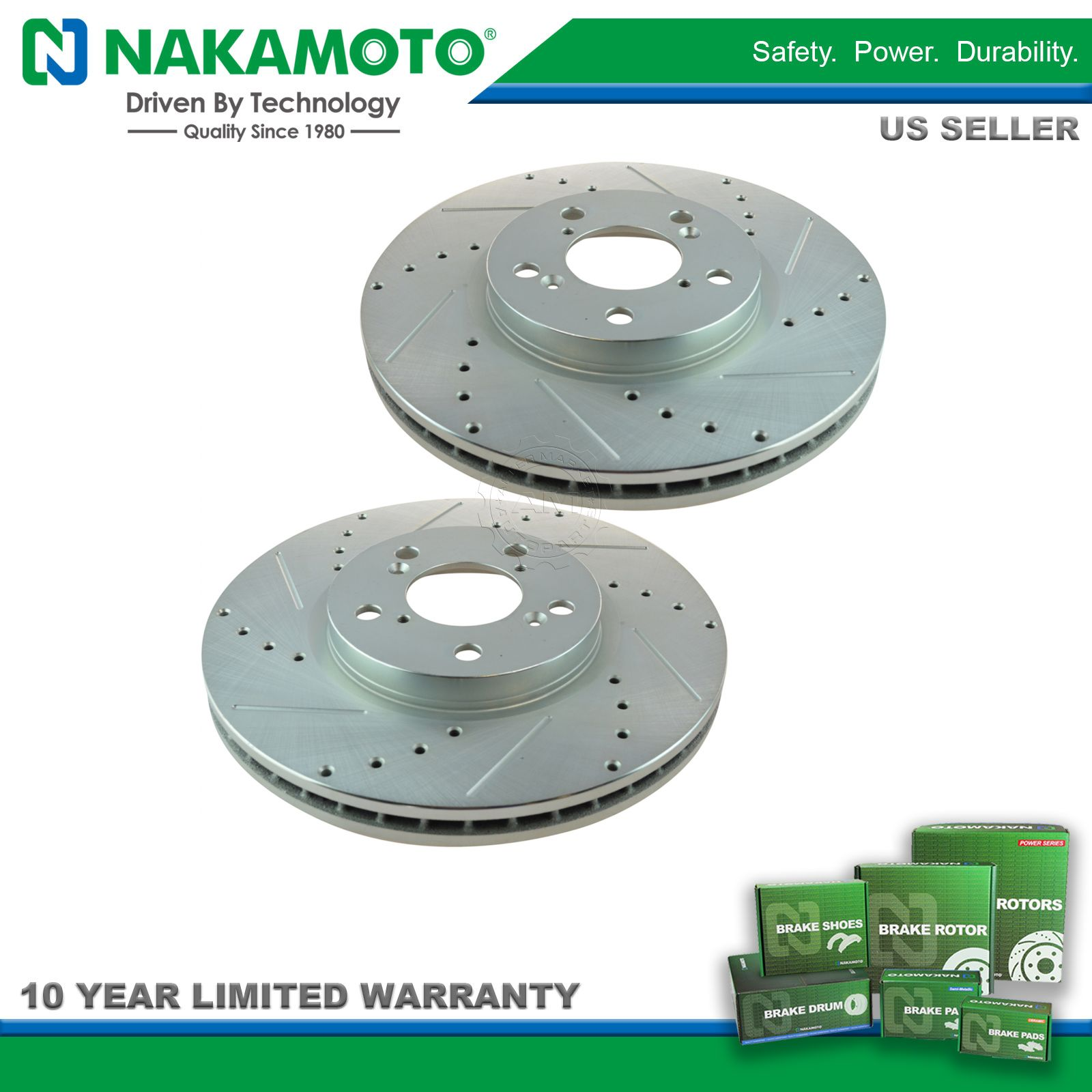 Nakamoto Performance Drilled /& Slotted Front Coated Brake Rotor Pair for Honda
