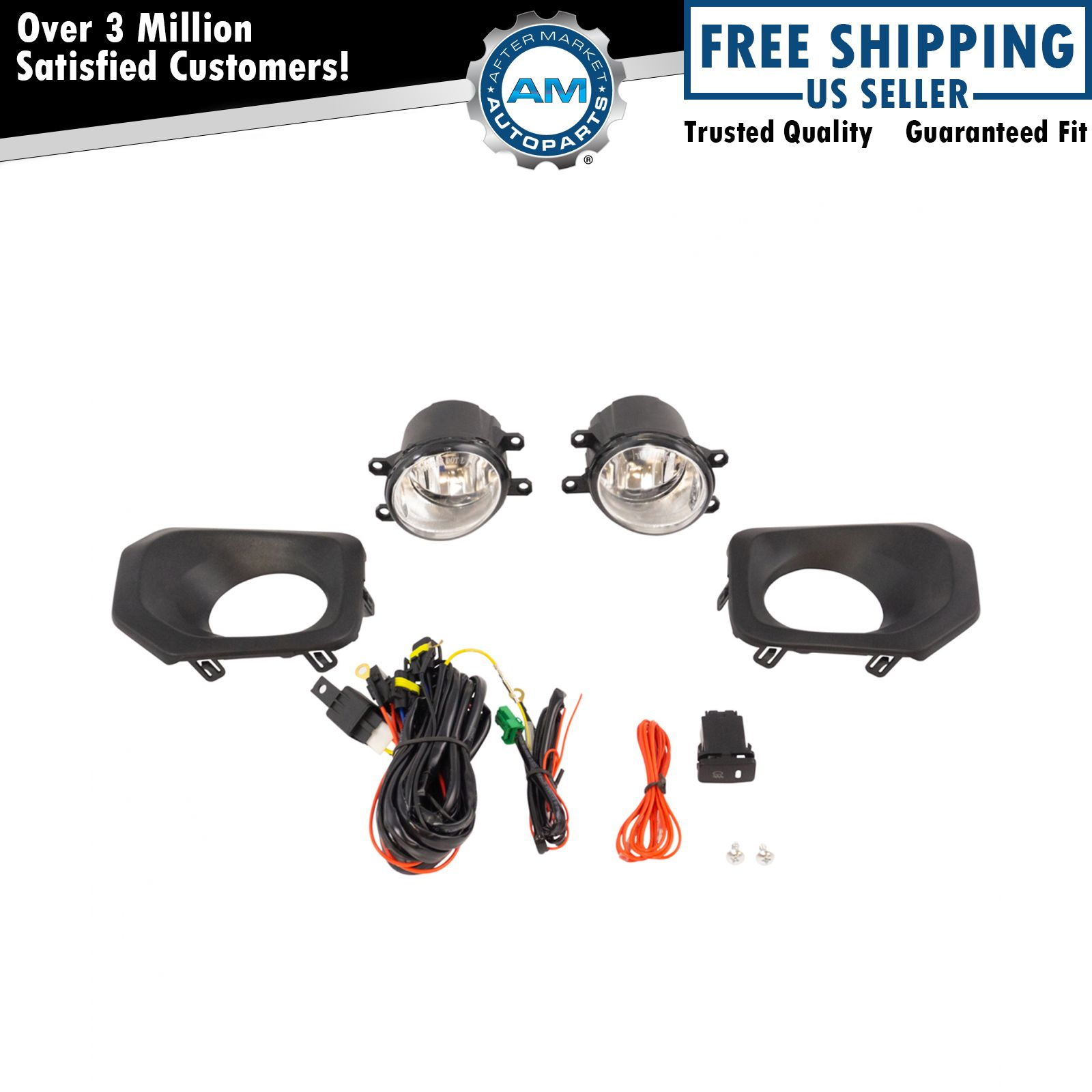 Add On Upgrade Clear Lens Fog Light Bulb Switch Wiring Kit Set for Camry Corolla