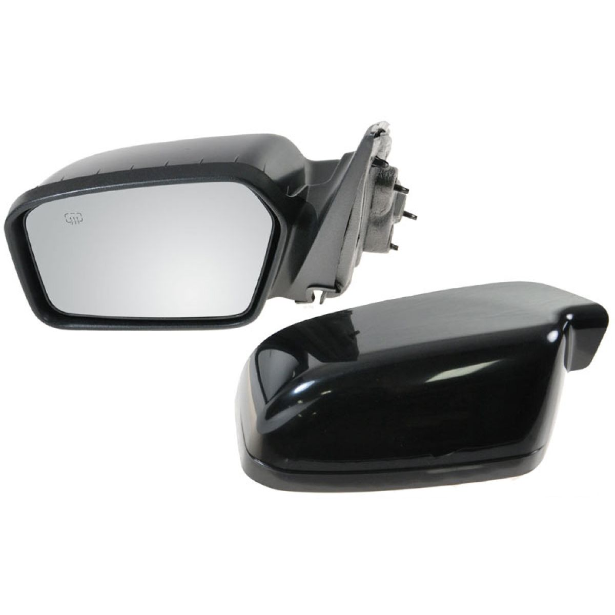 Power Heated Side View Mirror Smooth Black Driver Left Lh