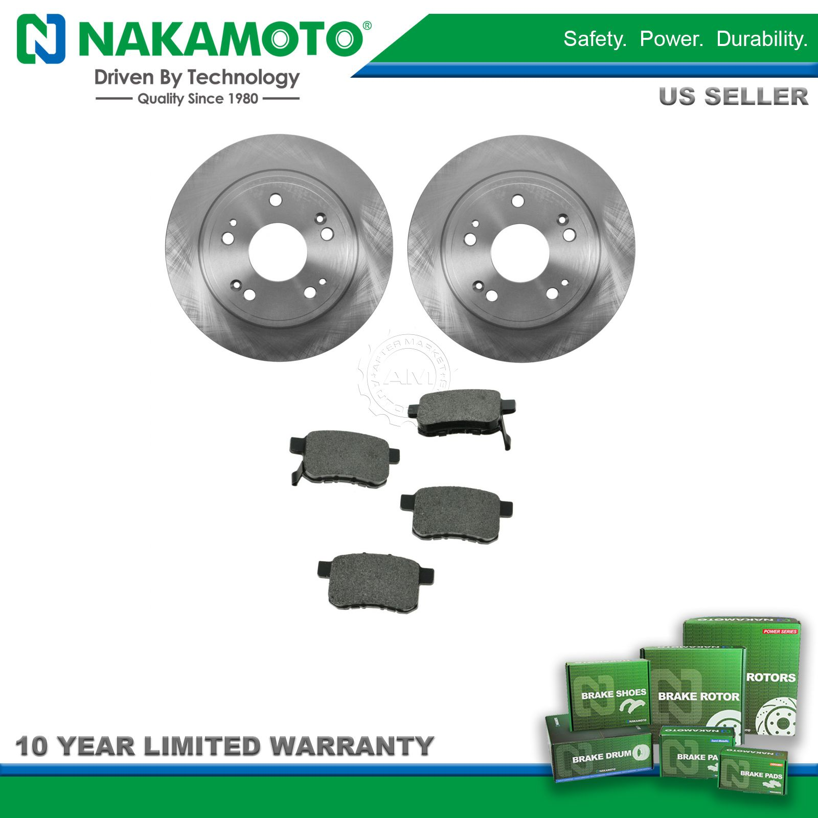 Nakamoto Rear Metallic Brake Pad & 2 Rotors Set Kit for Acura TSX Honda  Accord