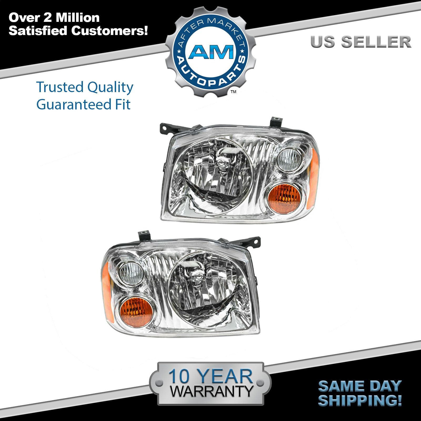 Headlights Headlamps Pair Set Left /& Right for Nissan Frontier Pickup Truck