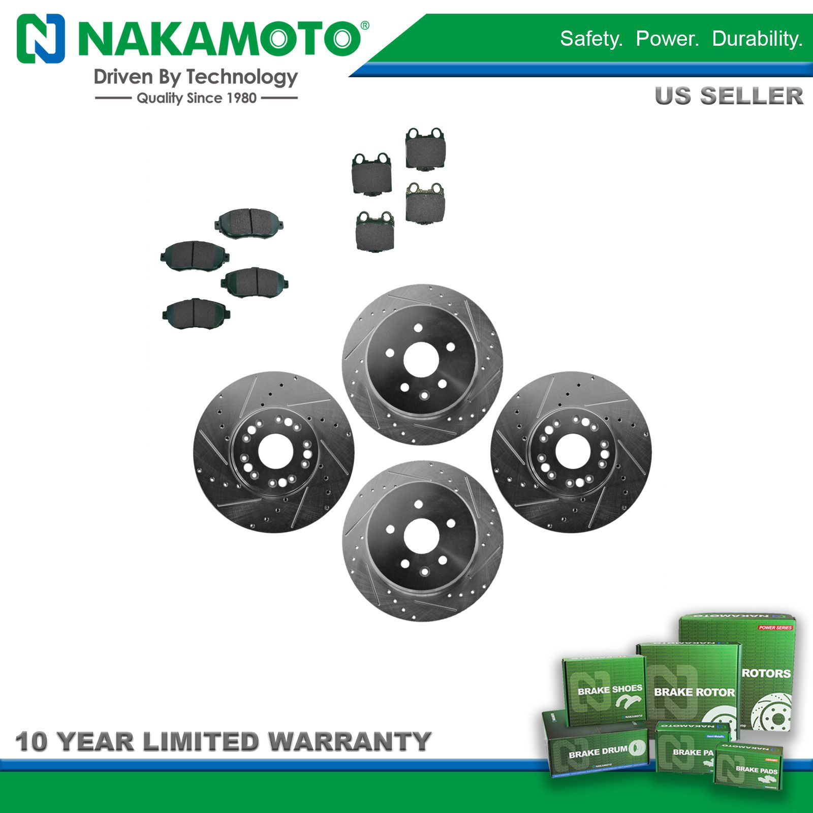 Nakamoto Performance Drilled Slotted Brake Rotor /& Ceramic Pad Front /& Rear Kit