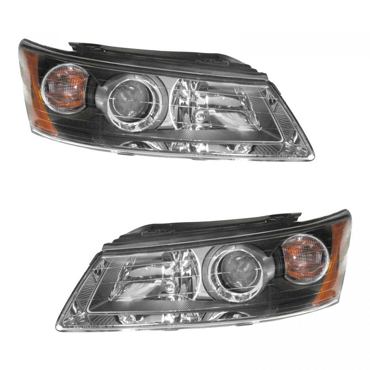 Headlights Headlamps Left & Right Pair Set for 06-08 Hyundai Sonata