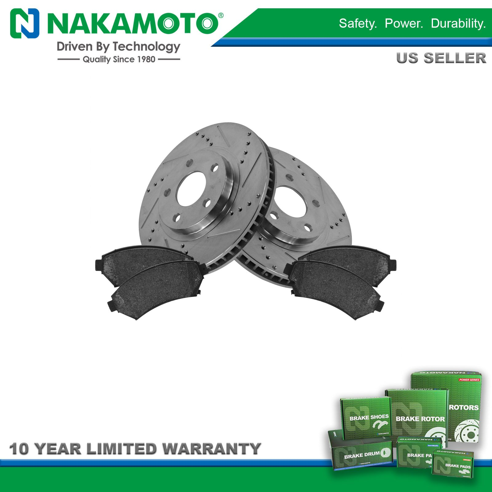 Nakamoto Front Ceramic Disc Brake Pad Set Left /& Right for Chevy Pontiac Olds