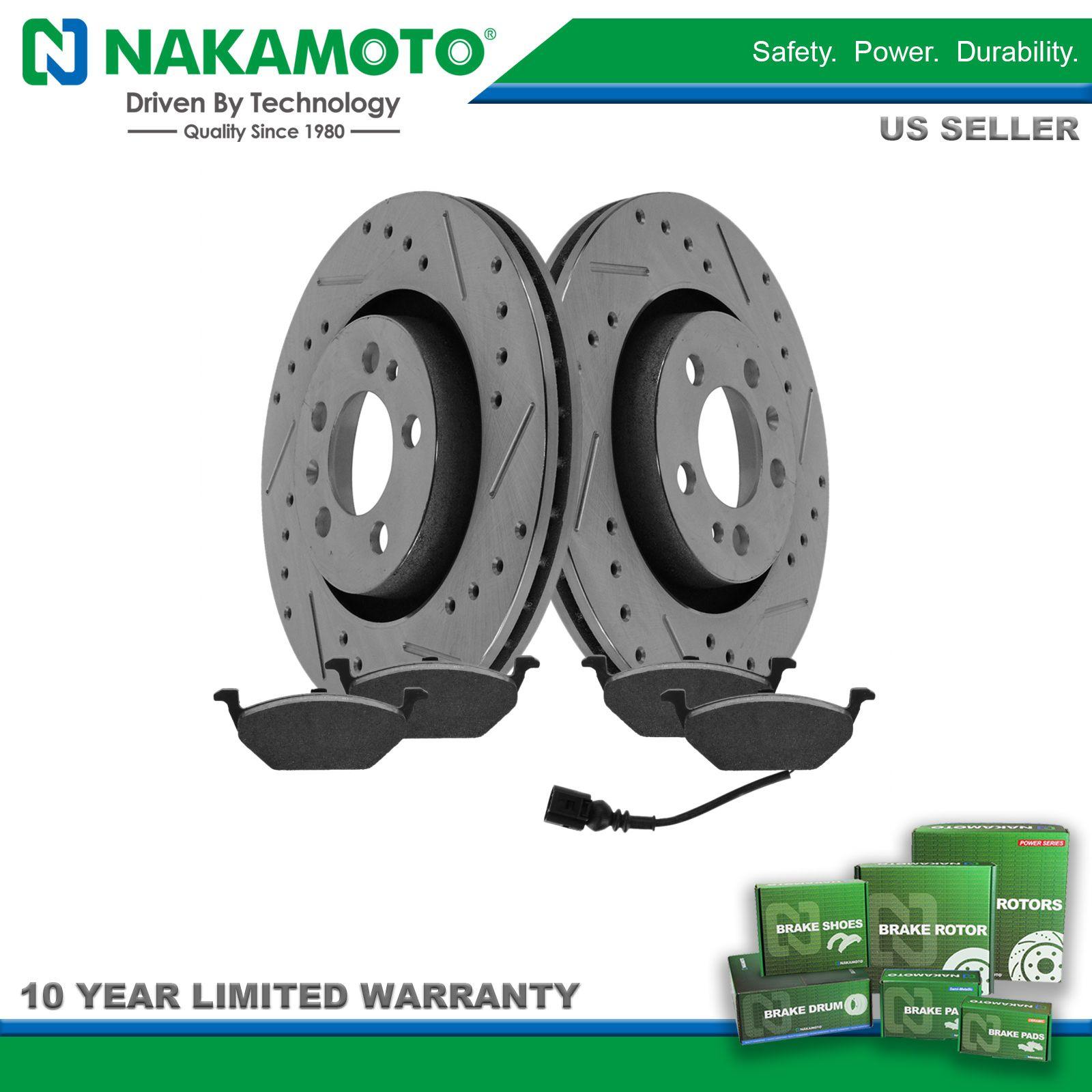 Nakamoto Front Performance Drilled /& Slotted Brake Rotor /& Posi Ceramic Pad Set