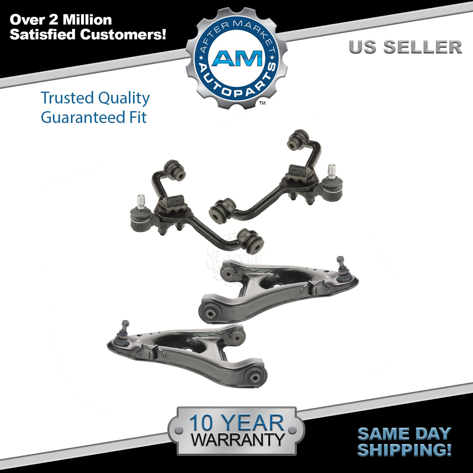 Warranty ! Low Price High Quality 2 Lower Ball Joints /& 2 Upper Ball Joints