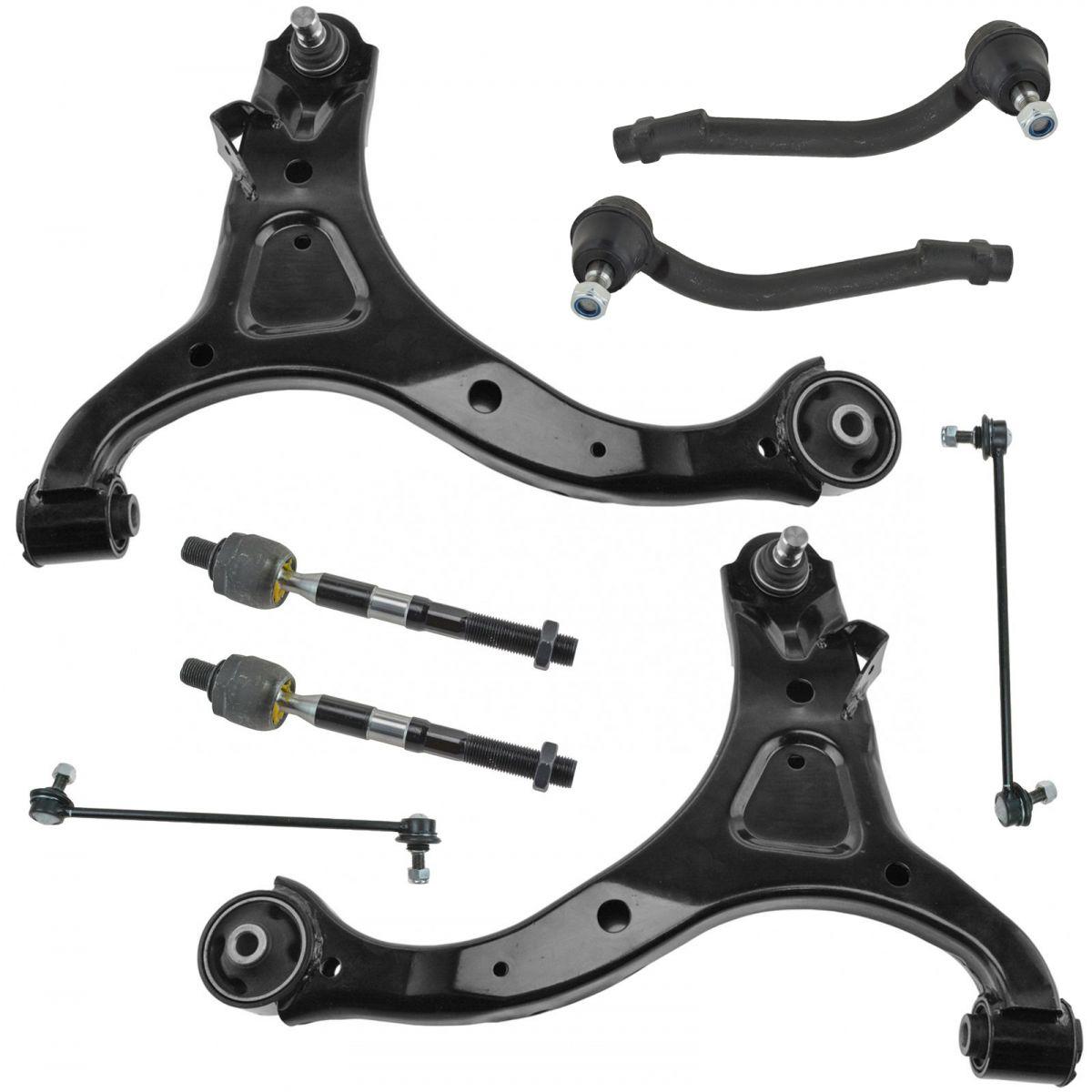 Frt Control Arms with Ball Joint Tie Rods Fits Hyundai Santa Fe Kia Sorento 8Pc