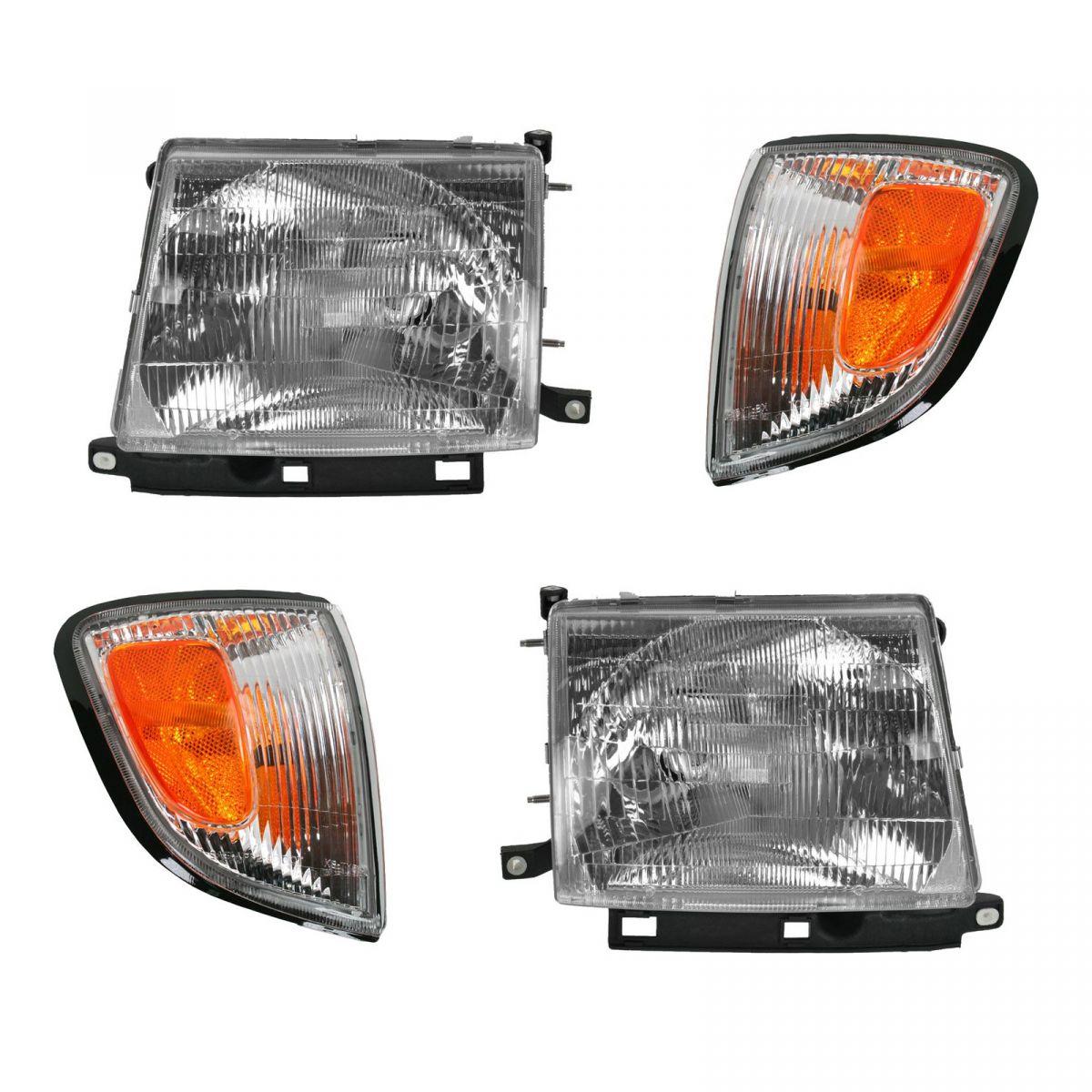 Headlights & Parking Corner Lights Left & Right Kit Set for 97-00 Tacoma 2WD 2x4