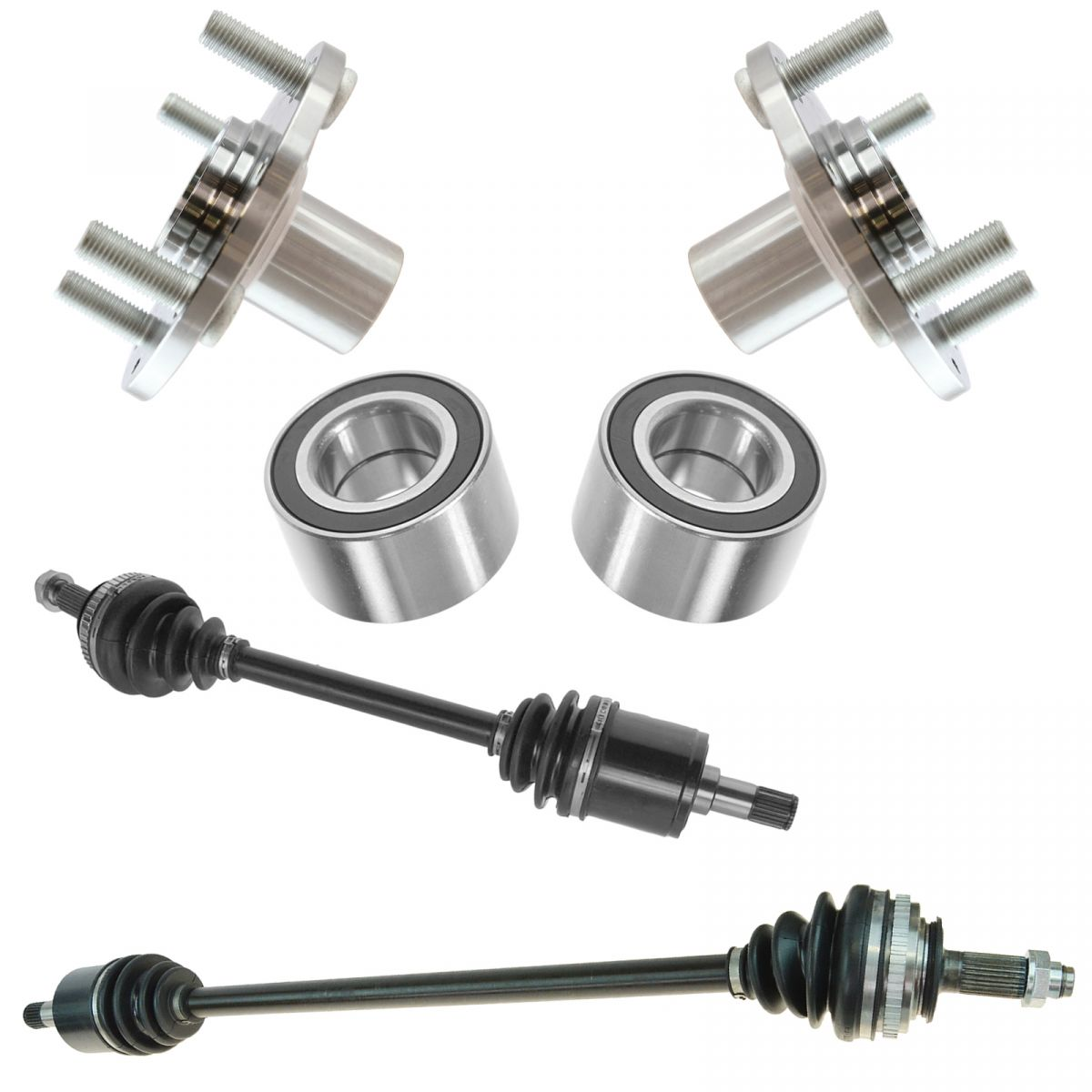 Front CV Axle Shaft Assembly Wheel Hub Bearing Kit Set 6pc New for Civic Del Sol