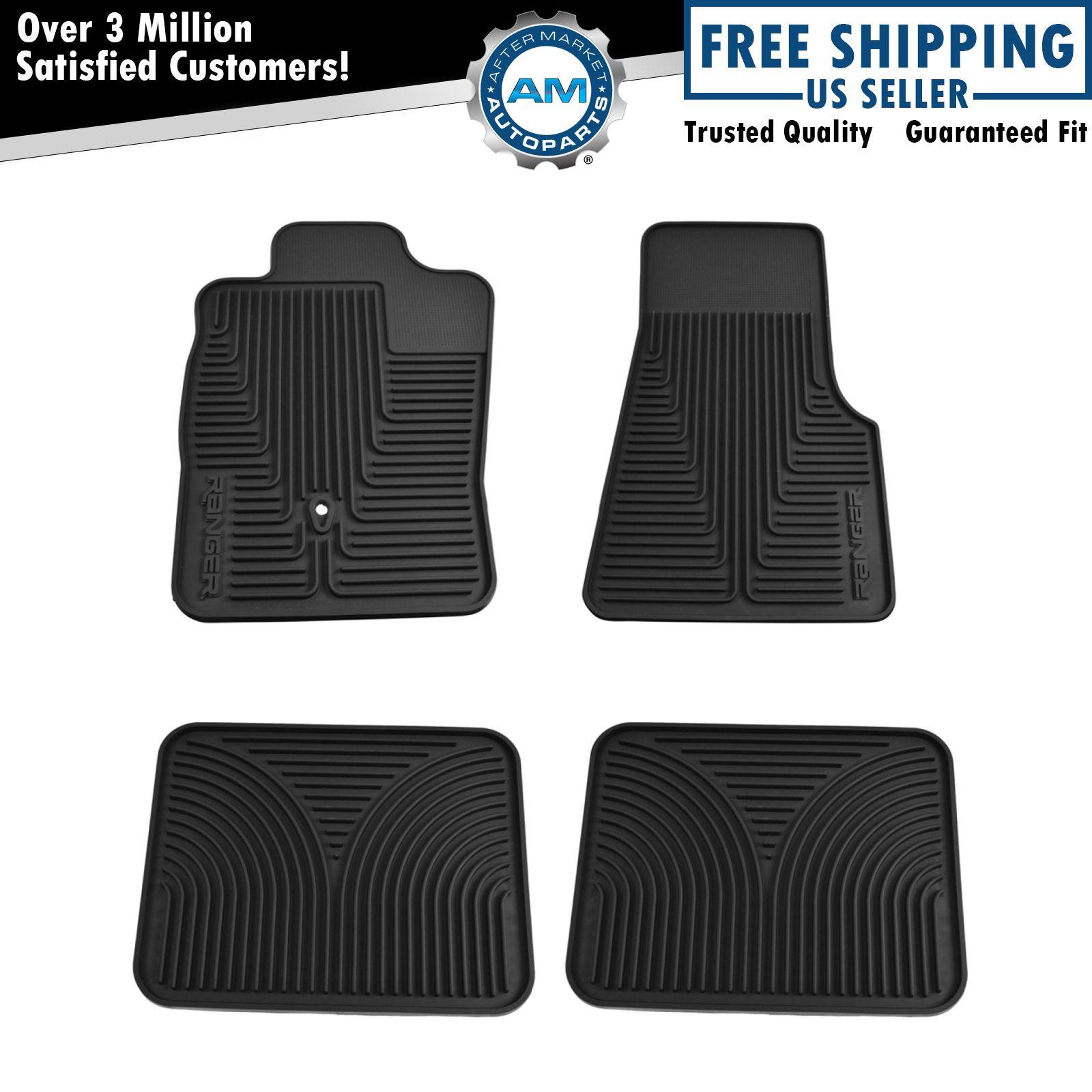 oem all weather black rubber floor mats front rear set. Black Bedroom Furniture Sets. Home Design Ideas