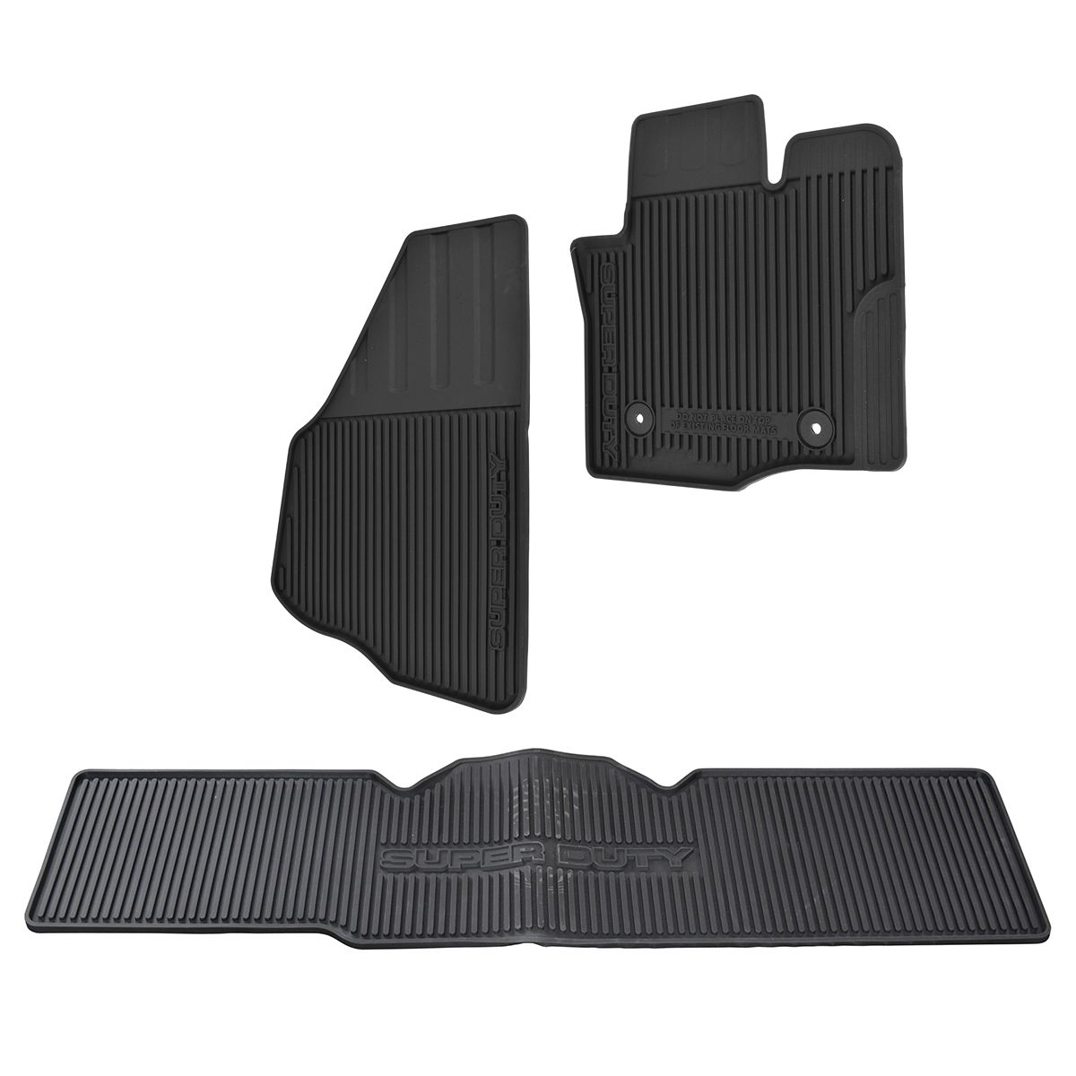 OEM Molded Rubber Floor Mat Kit Set of 3 for Ford F250 F350 Super Duty Super Cab