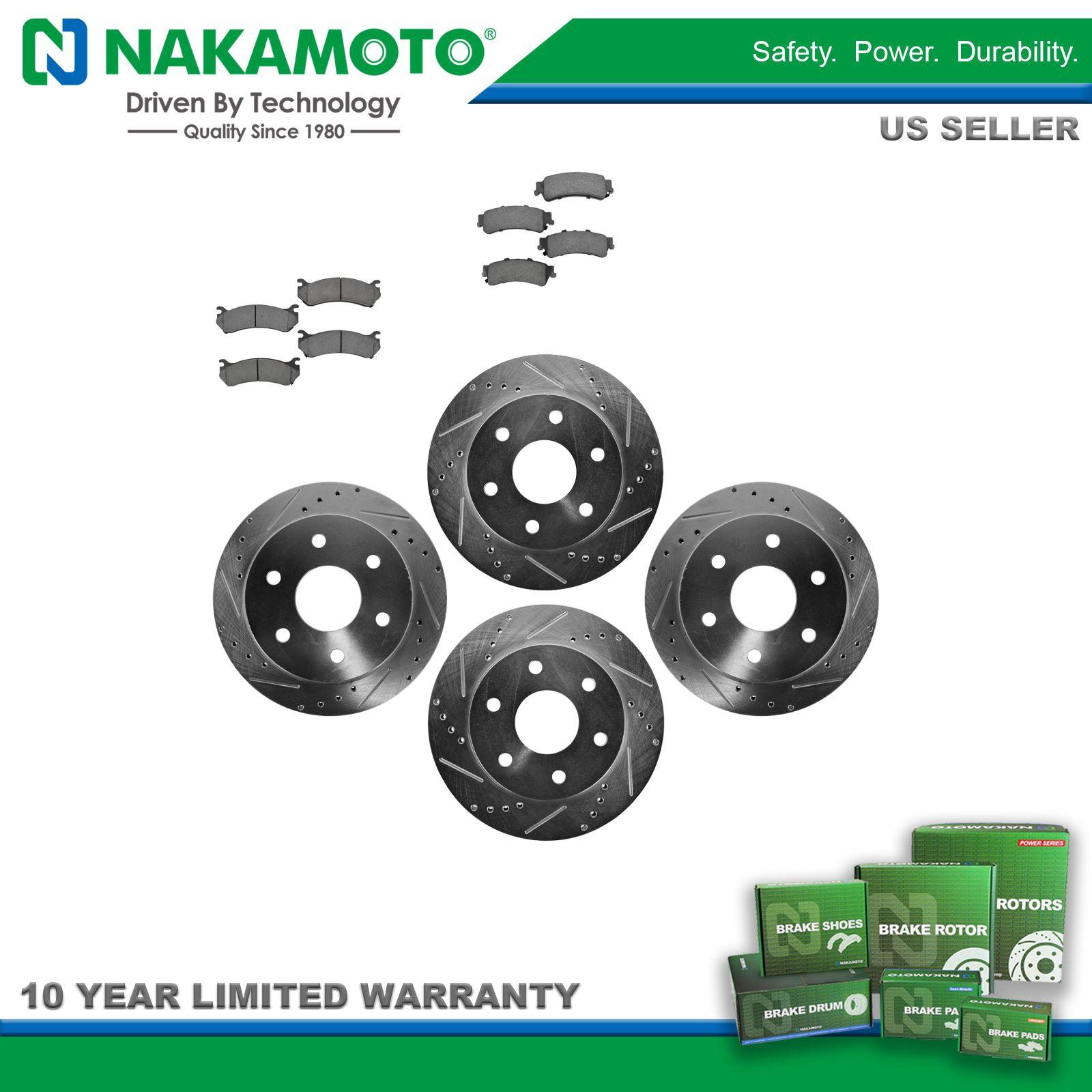 Nakamoto Rotor /& Brake Pad Kit Ceramic Performance Drilled Slotted Front Rear