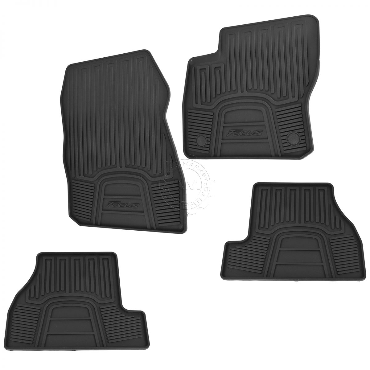 OEM Floor Mat Black Rubber LH RH Front & Rear Kit Set of 4 for 12