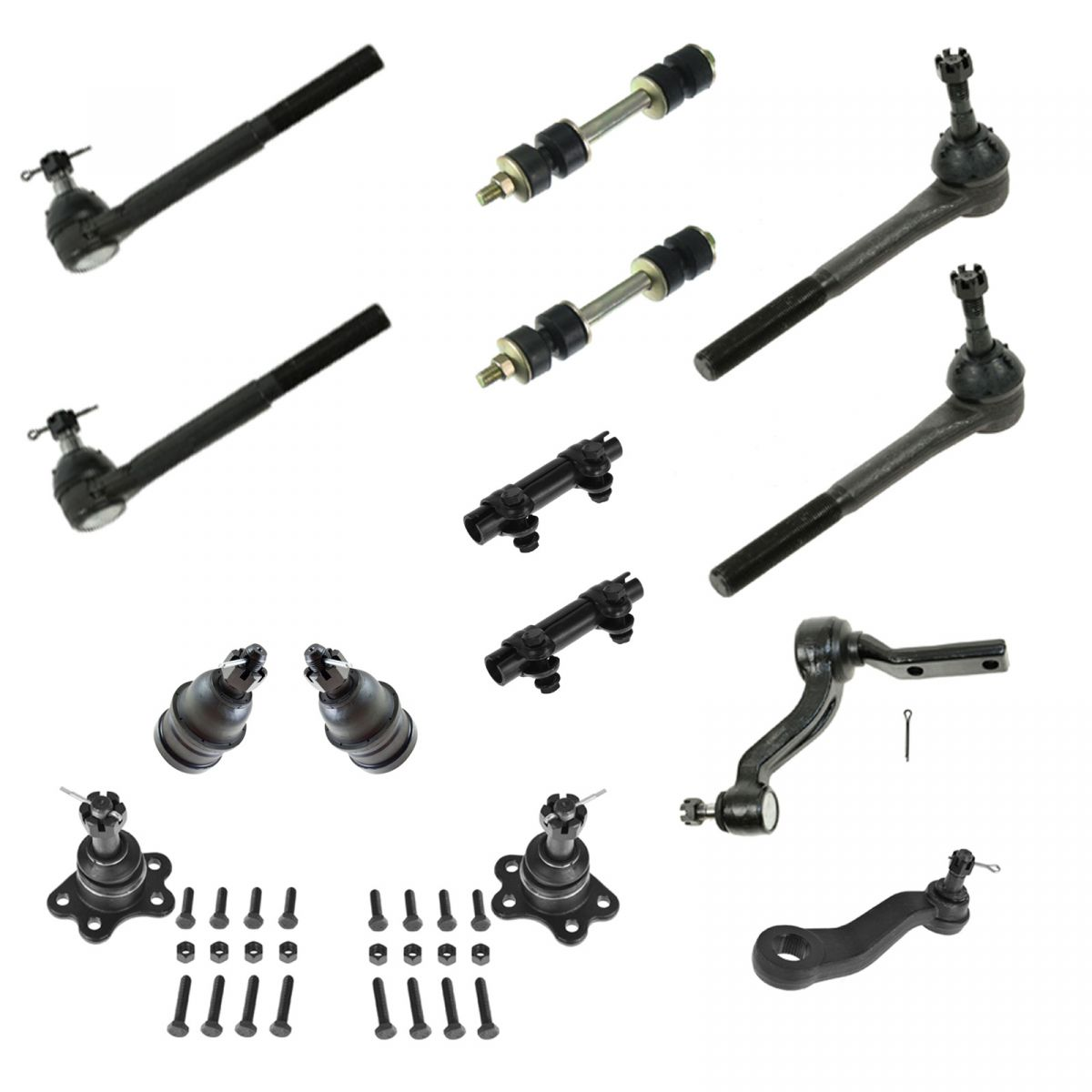 14 Pc Kit Ball Joints Tie Rod Ends Pitman Idler Sway Bar Sleeves 2 Year Warranty