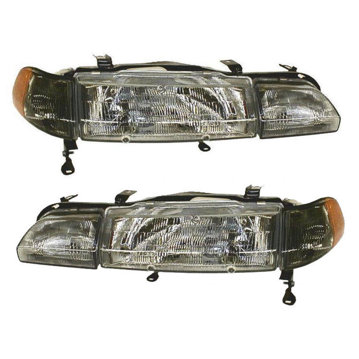 Front Headlights Headlamps W/ Marker & Fog Light Pair Set