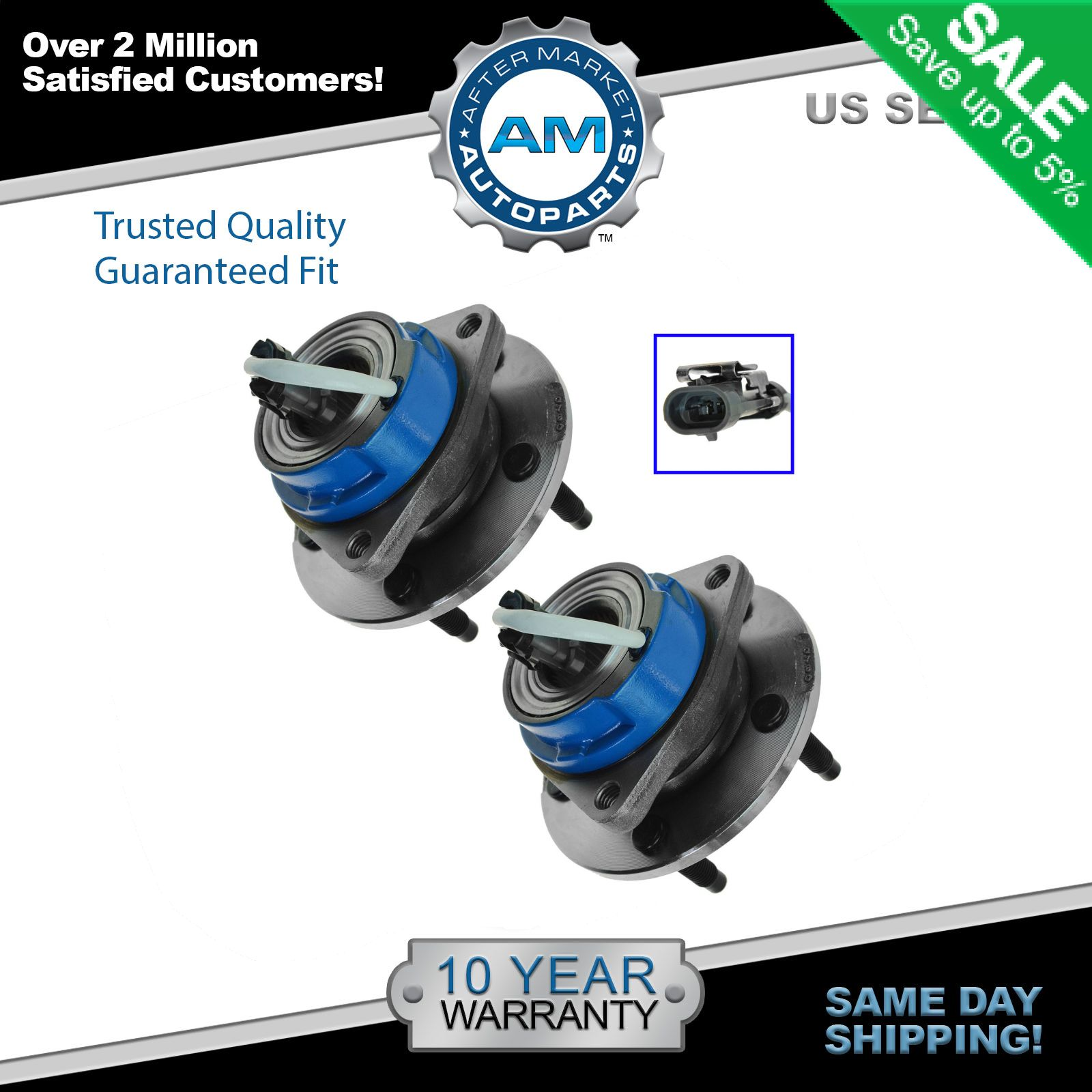 Trq front rear wheel hub bearing assembly pair set for chevy pontiac w abs