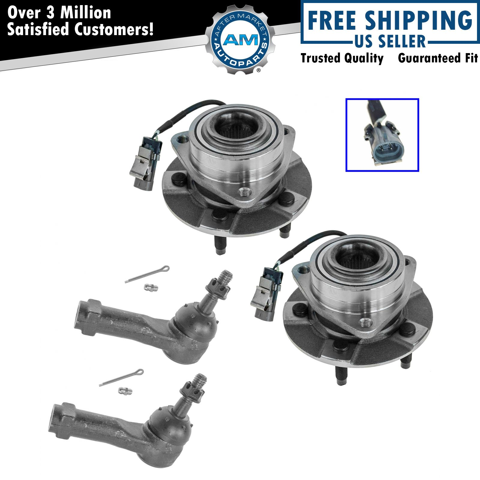 4 Piece Kit Outer Tie Rod End Wheel Bearing Hub Assembly LH RH for 02-05 Liberty