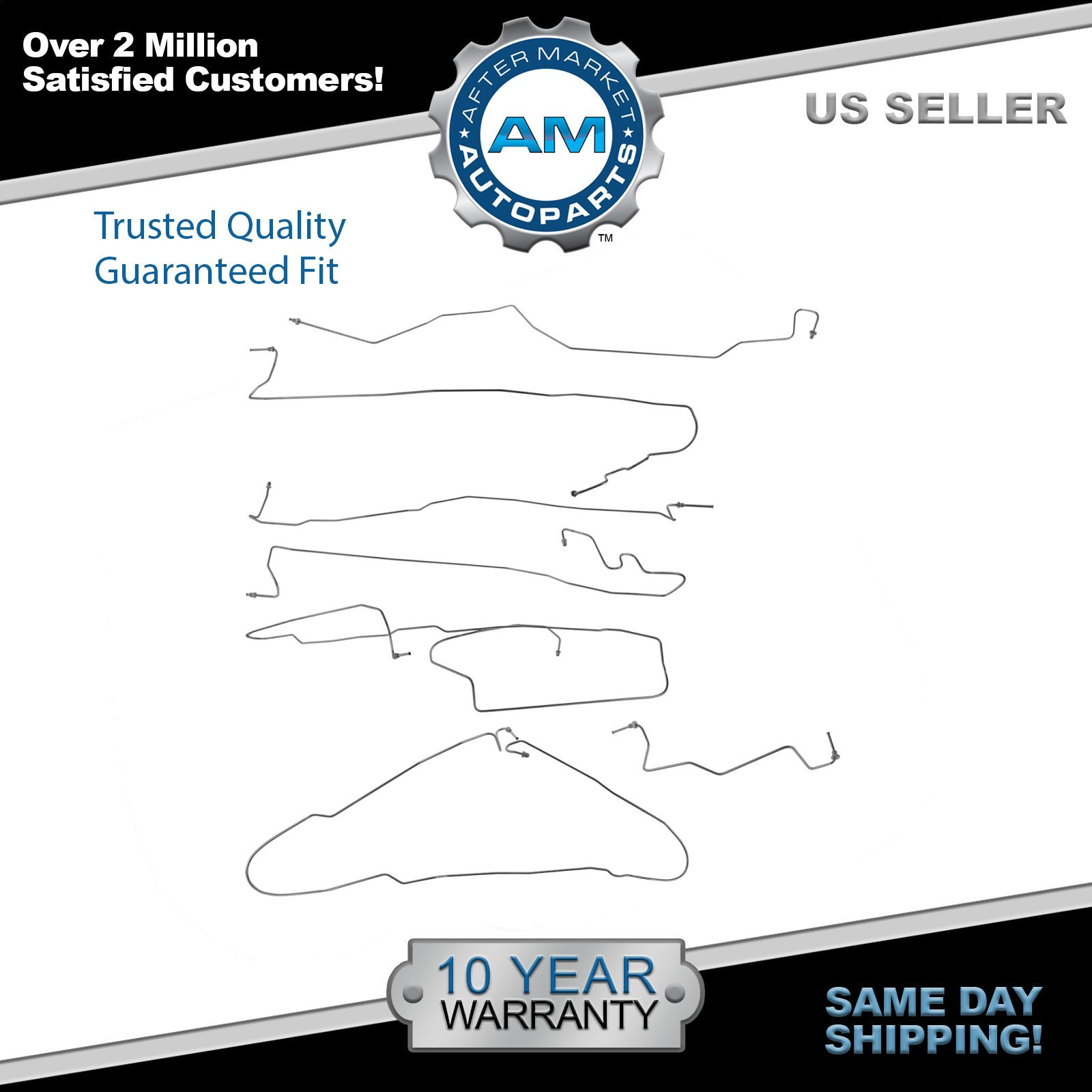 "Ext 4 WD 99-02 Silverado // Sierra 1500 96/"" Bed Brake Line Kit; Stainless"