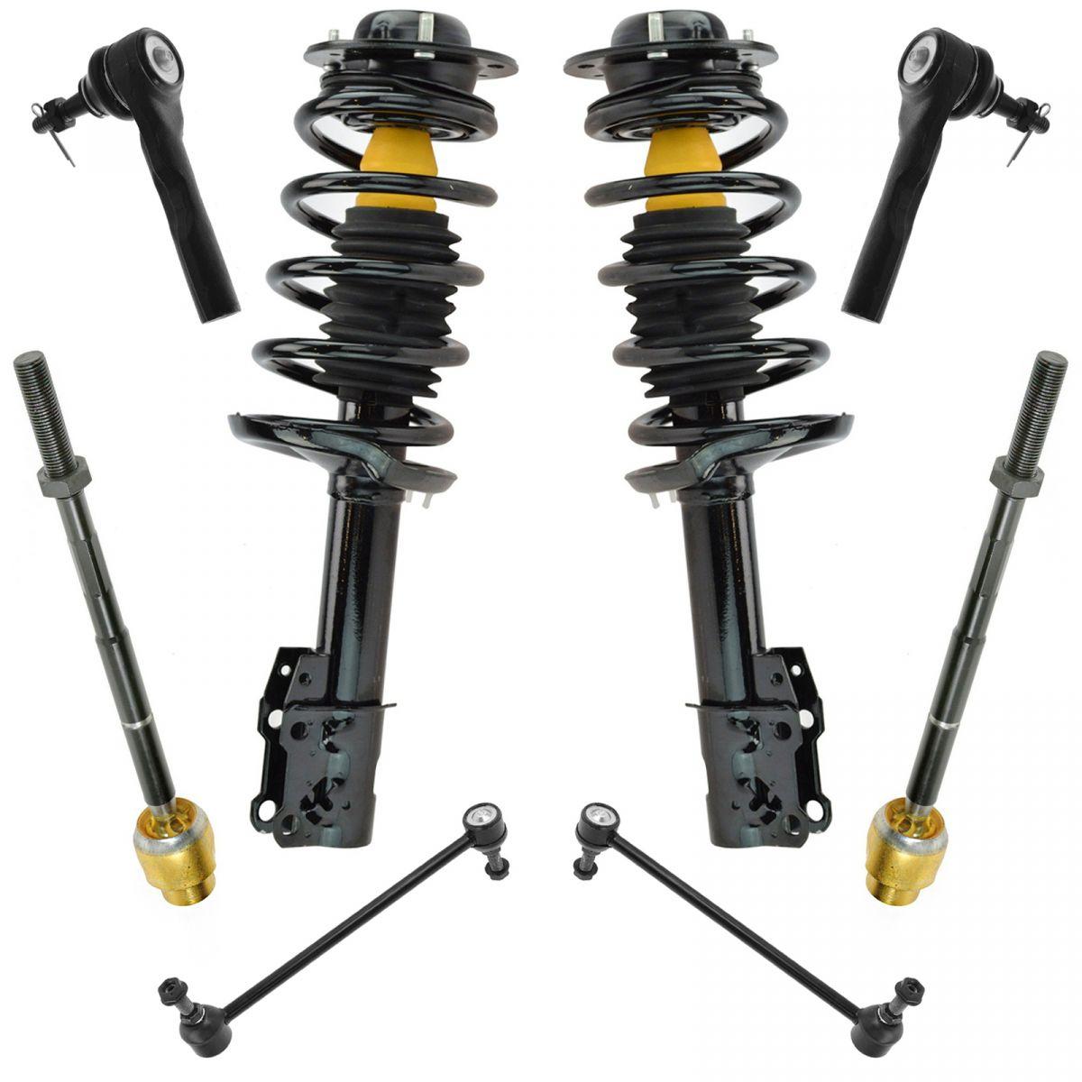 Inner /& Outer Tie Rods Links Front Suspension Kit Strut /& Coil Spring Assembly