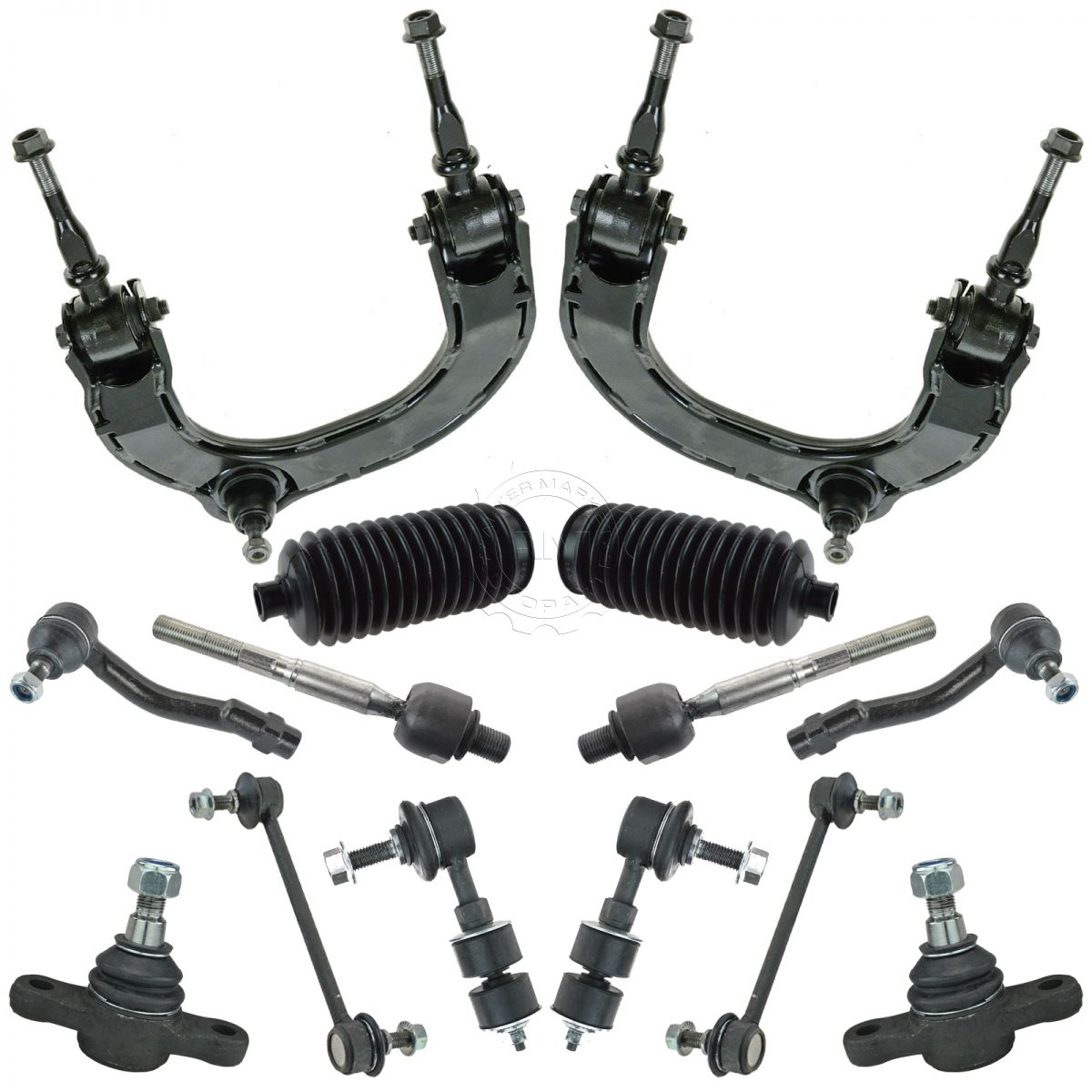 Steering /& Suspension Kit Set of 10 Rack Boots Ball Joints Tie Rods Sway Links