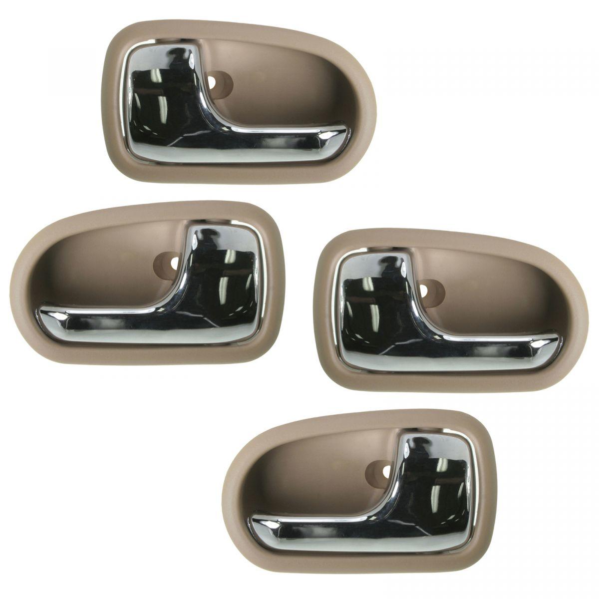 Interior Inside Door Handle Chrome Light Brown Front Rear Set of 4 for Protege