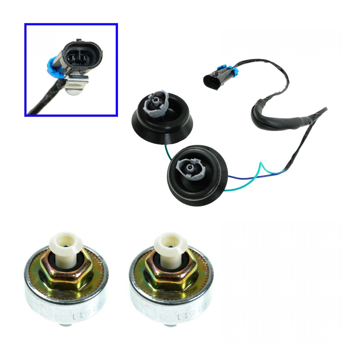 Knock Sensor with Harness Pair Kit Set for Chevy GMC Silverado Sierra Cadillac