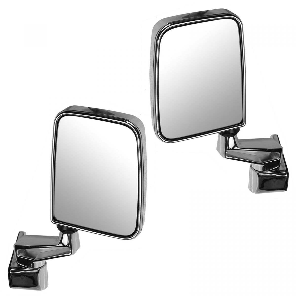 Manual Side View Mirrors Folding Chrome Pair Set NEW for 87-02 Jeep Wrangler