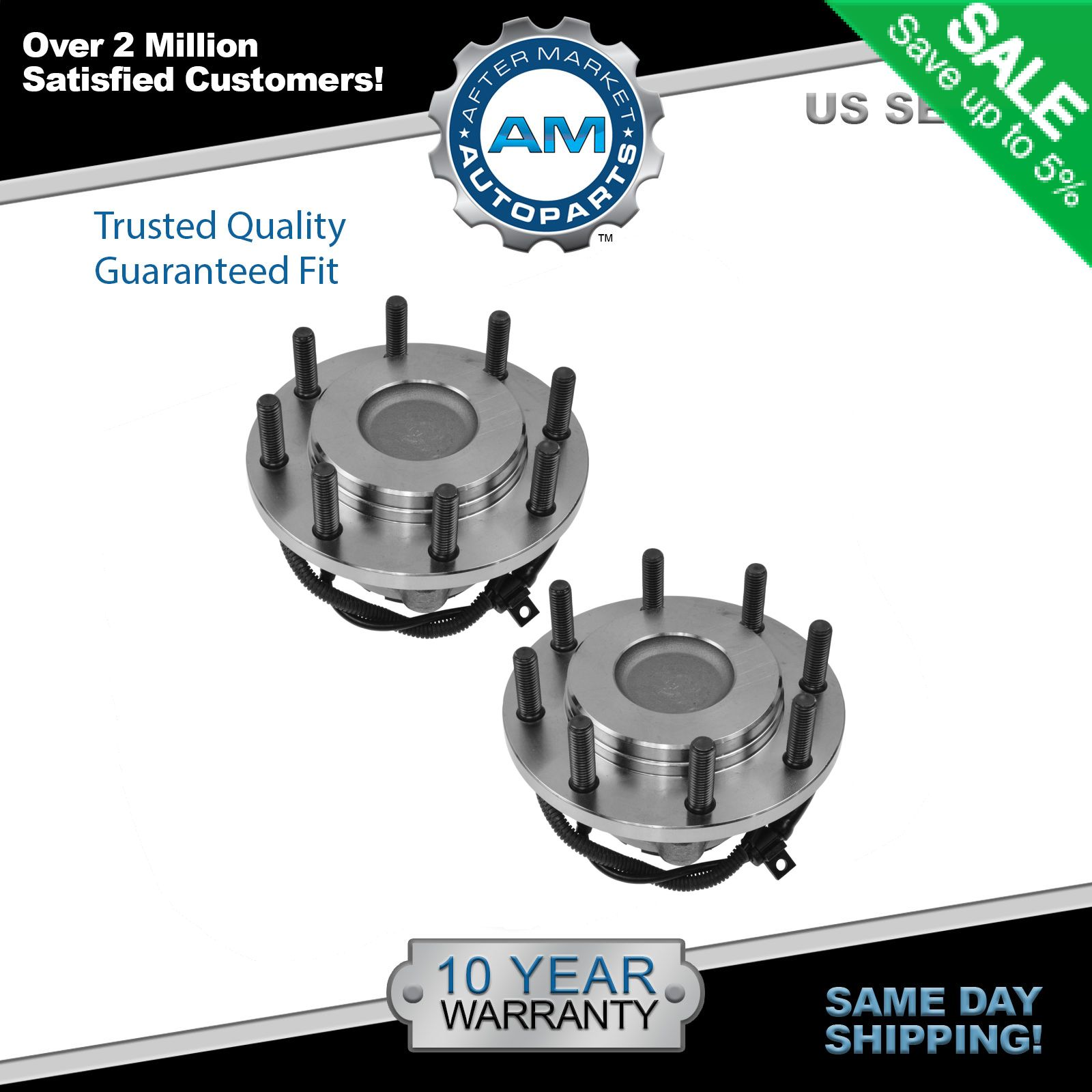 Front Wheel Hub /& Bearing Pair Set for 99-04 Ford Super Duty Pickup 4WD 4x4