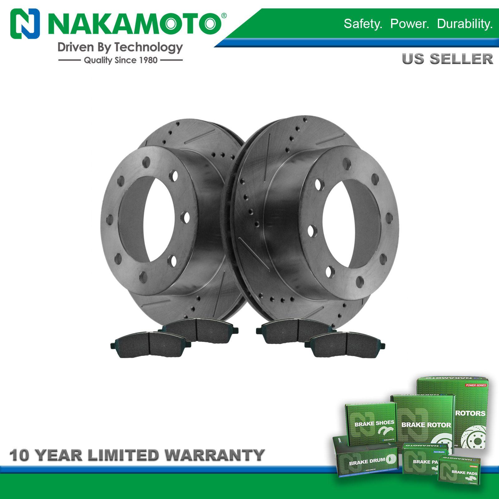 Nakamoto Ceramic Brake Pad /& Performance Drilled Slotted Rotor Rear Kit