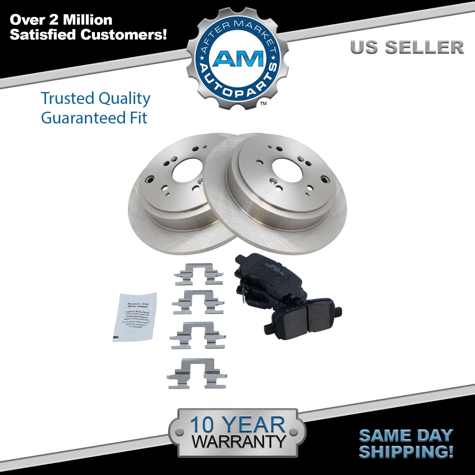 Nakamoto Rear Disc Brake Pad & Rotor Kit Set for Honda Pilot MDX