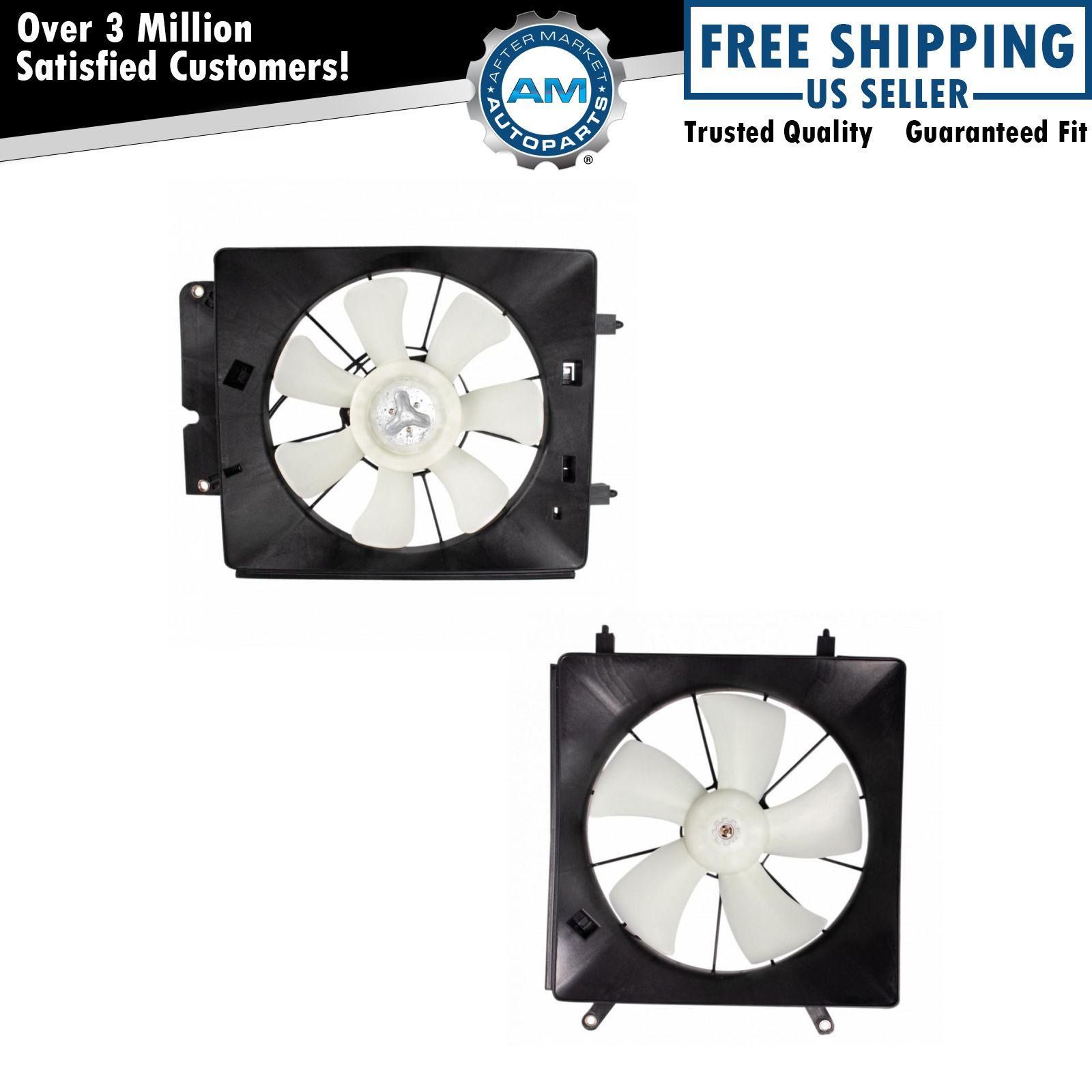 radiator ac condenser cooling fan assembly pair for 02. Black Bedroom Furniture Sets. Home Design Ideas