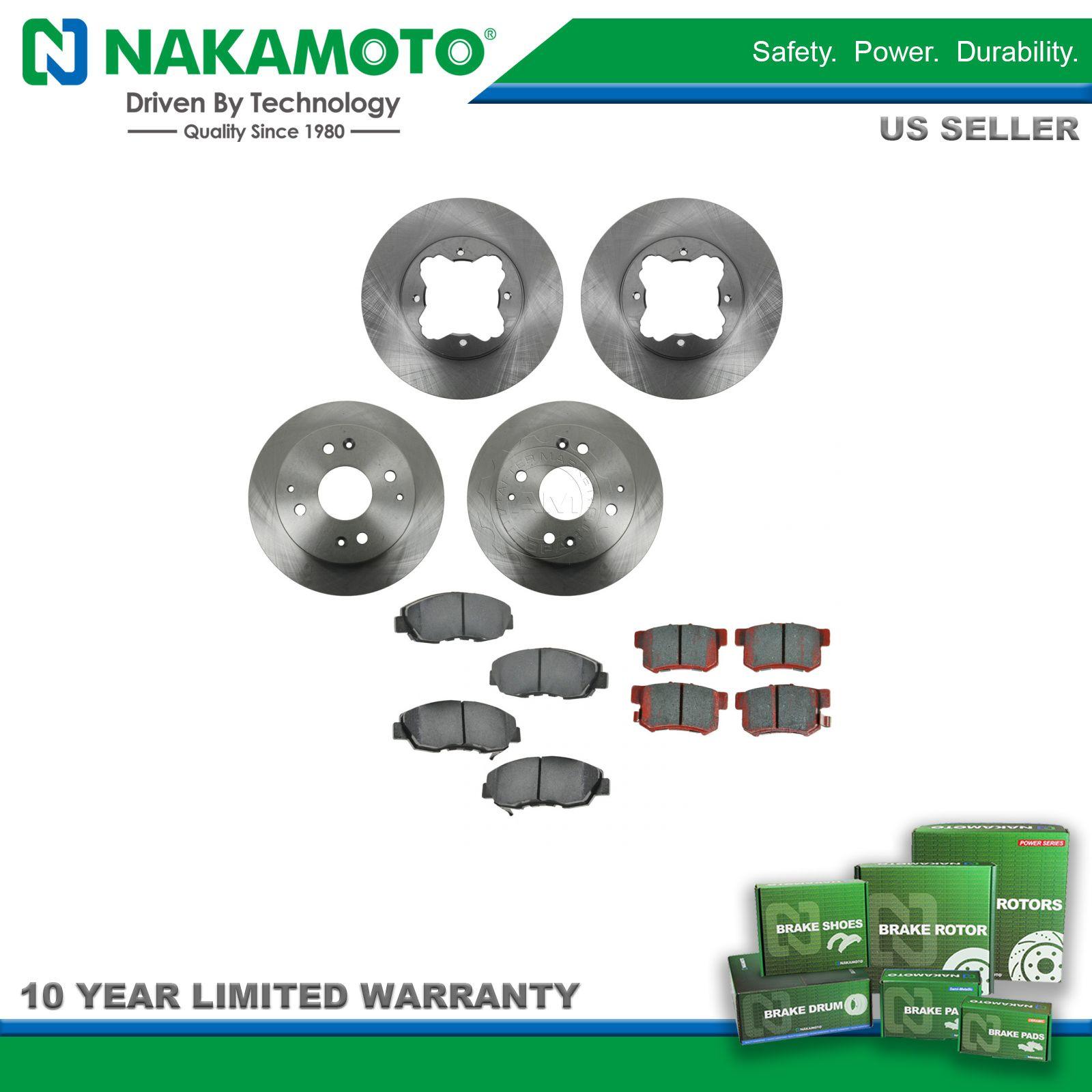 Nakamoto Brake Pad & Rotor Kit Premium Posi Ceramic Front & Rear for Acura  Honda