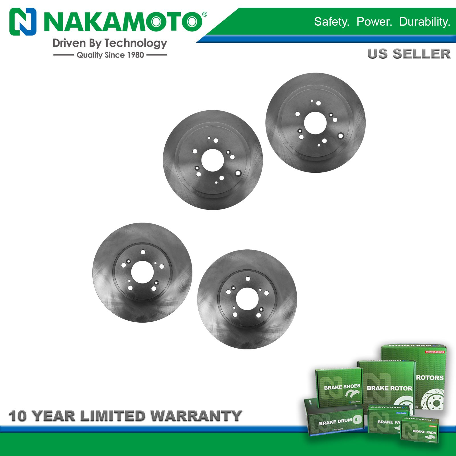 Nakamoto Brake Rotor Front & Rear Kit Set Of 4 For Acura