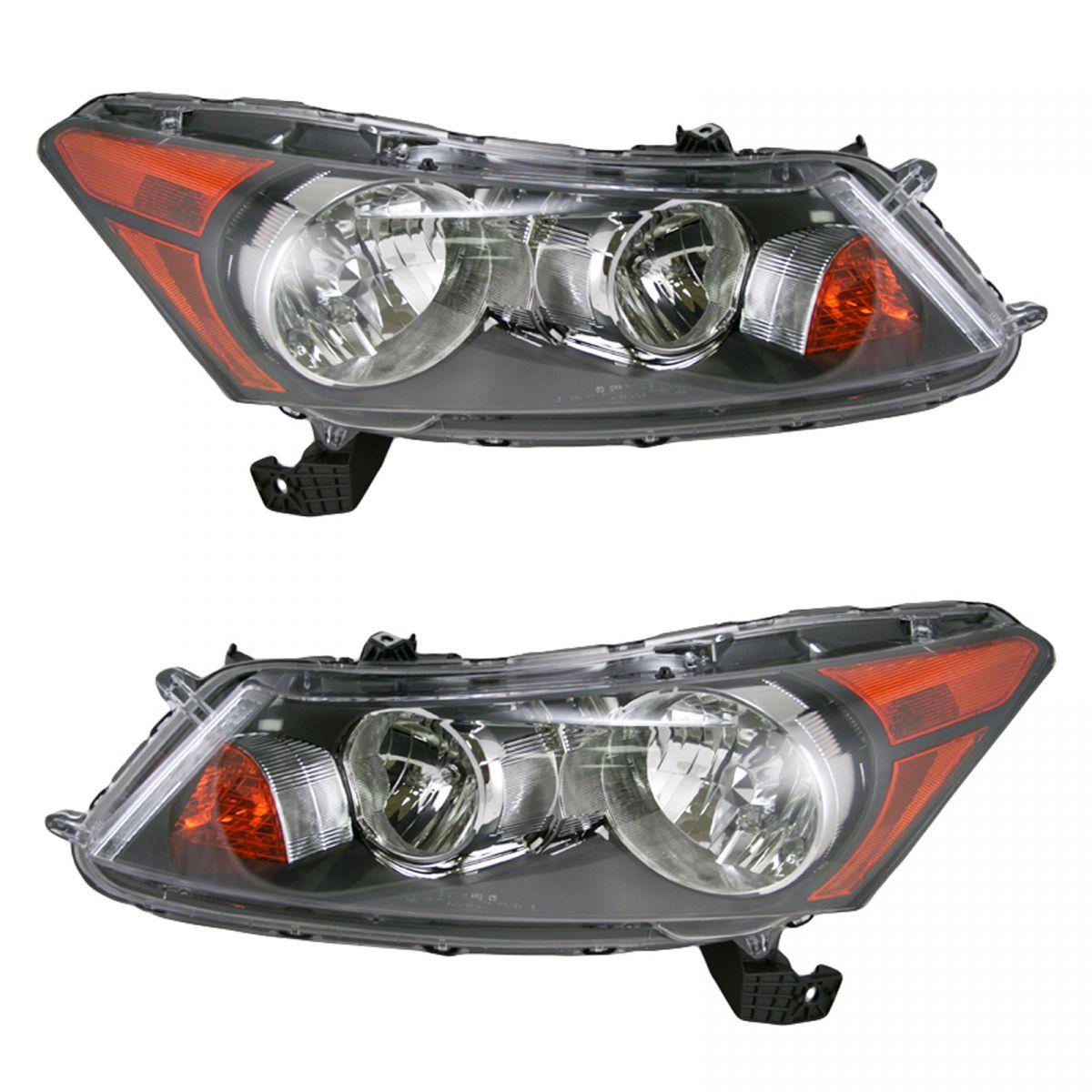 Front Headlights Headlamps Lights Lamps Pair Set for 08-12 Honda Accord Sedan