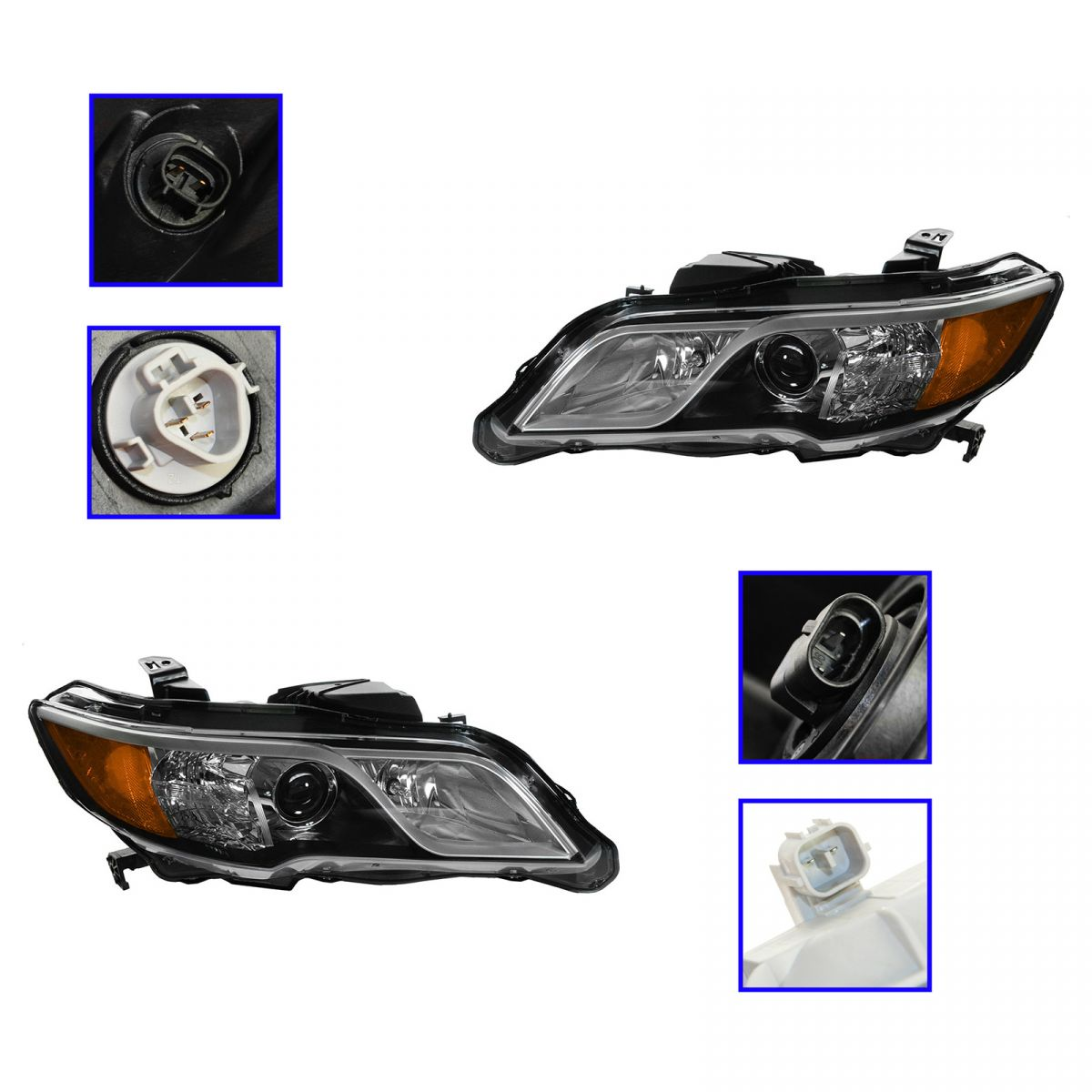Halogen Headlight Headlamp Pair Set For Acura RDX NEW