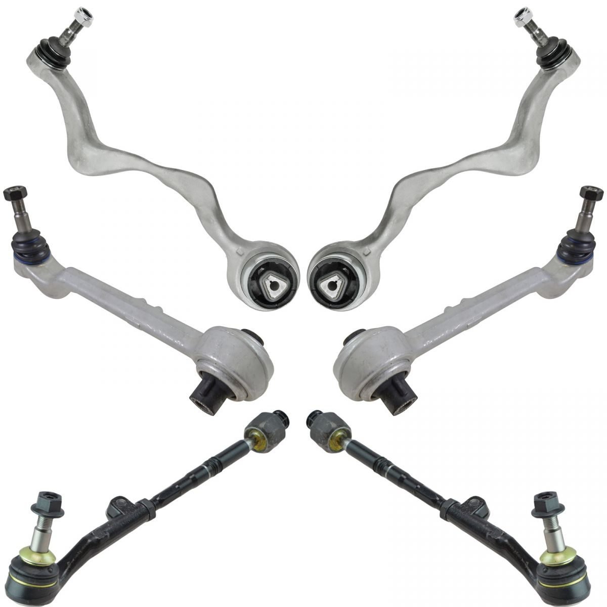 6 Piece Steering & Suspension Kit Control Arms w/ Inner Outer Tie Rod Assemblies