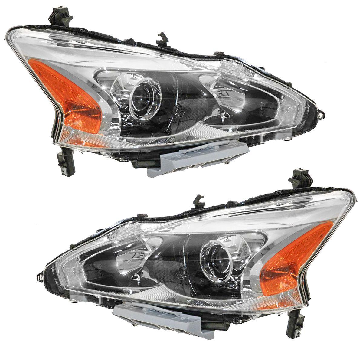Headlight Head Lamp Halogen LH Left RH Right Pair for 13-15 Nissan Altima Sedan