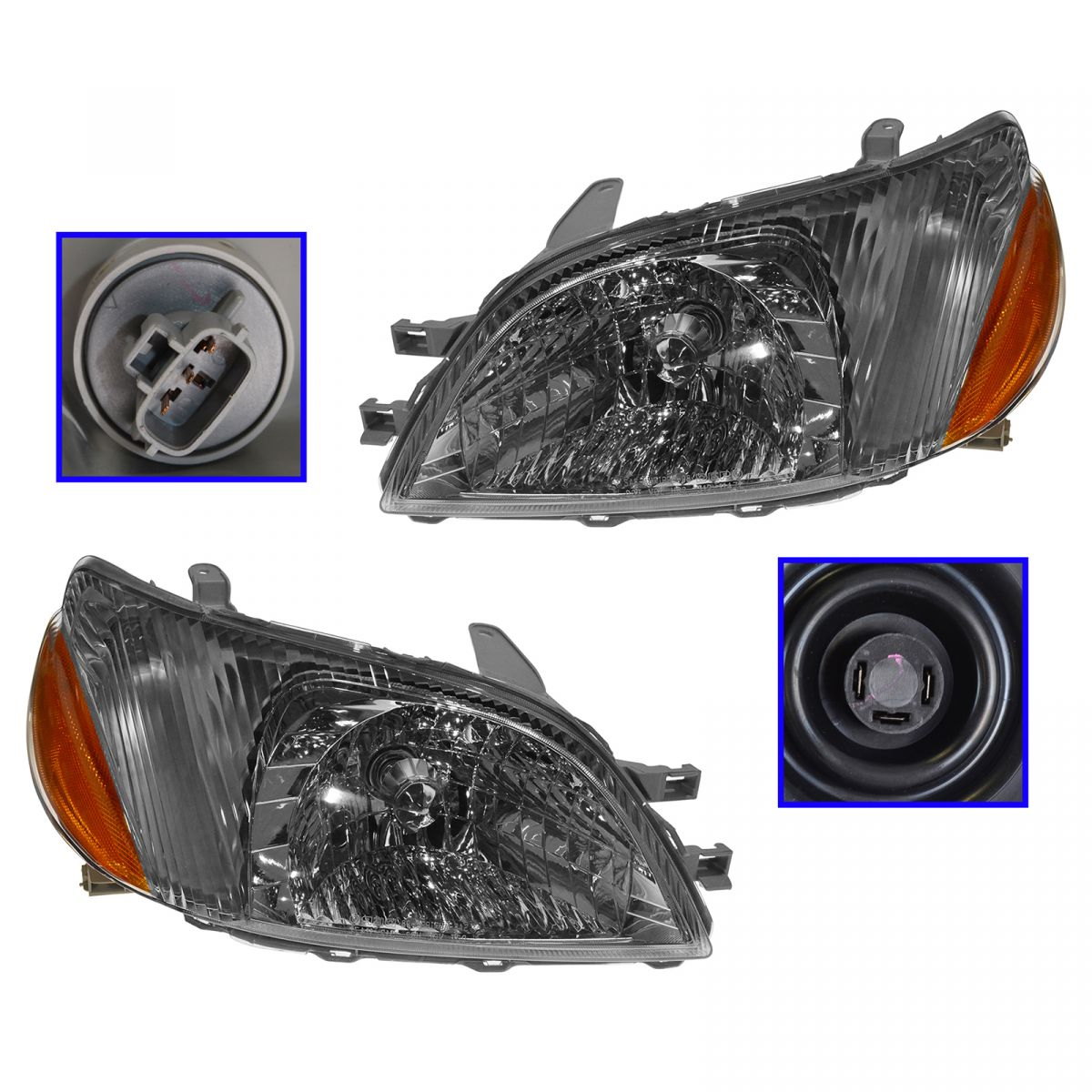 Headlights Headlamps Left /& Right Pair Set NEW for 2000-2001 Mitsubishi Eclipse